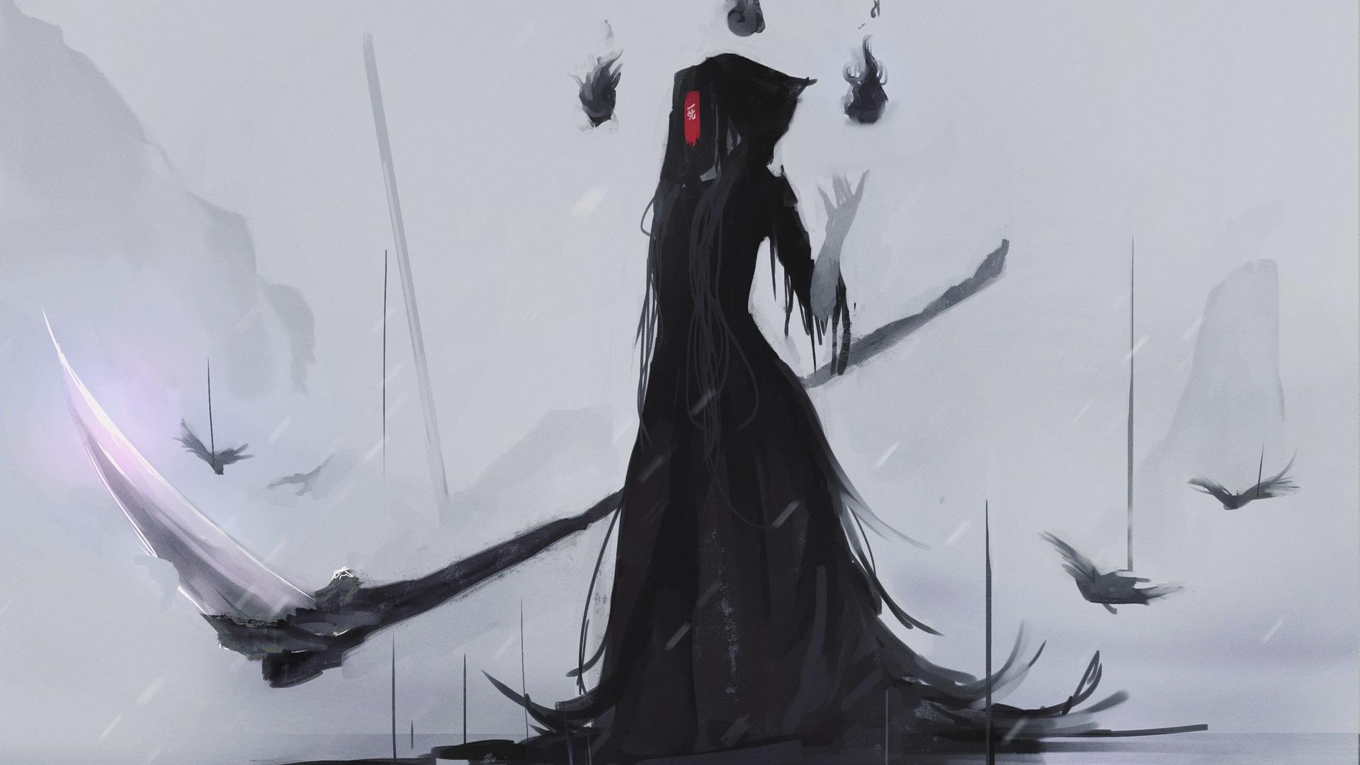 Wallpaper Aoi Ogata Grim Reaper Scythe Mask Black Dress Anime Girls 1920x1080 Xhj1235 1932331 Hd Wallpapers Wallhere