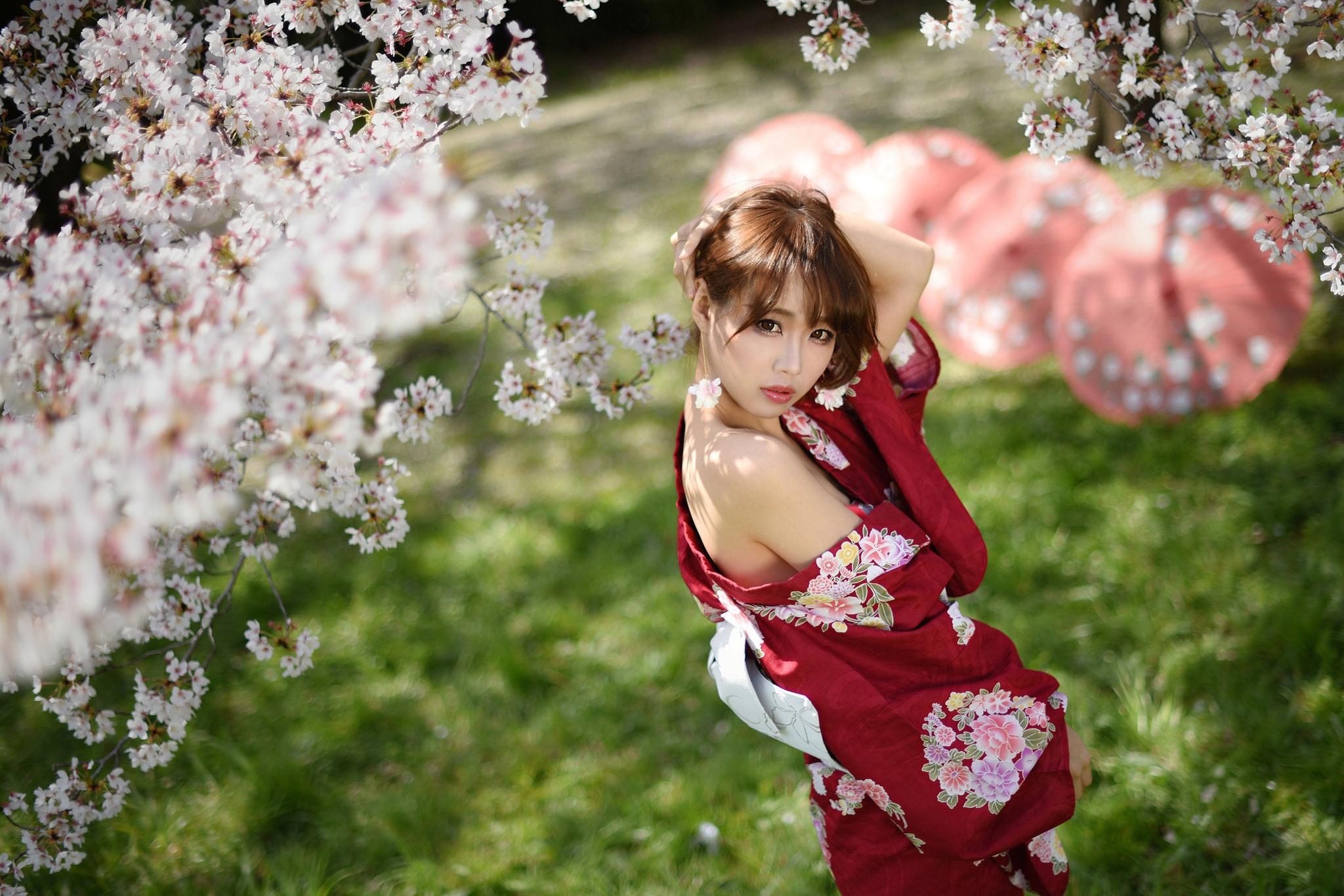 Wallpaper Asian Women Yukata Japanese Umbrella Cherry