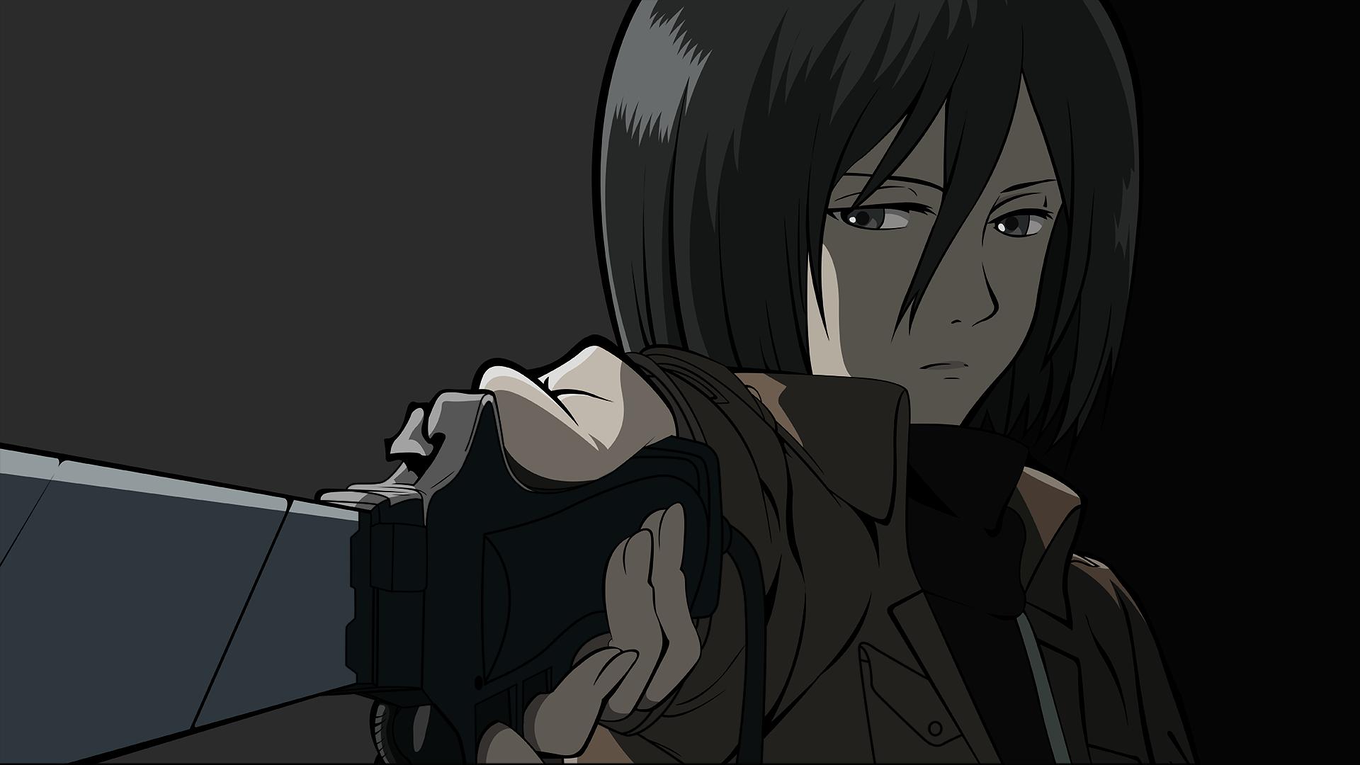 Wallpaper Attack On Titans Shingeki No Kyojin Anime Mikasa Ackerman Sword Weapon 1920x1080 Hanako 1880869 Hd Wallpapers Wallhere
