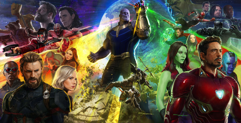 Wallpaper Avengers Infinity War Movies Marvel Cinematic Universe Thanos Iron Man Captain America Gamora Black Widow Falcon Groot Thor Loki Drax The Destroyer Scarlet Witch Rocket Raccoon Nebula Marvel Mantis Marvel
