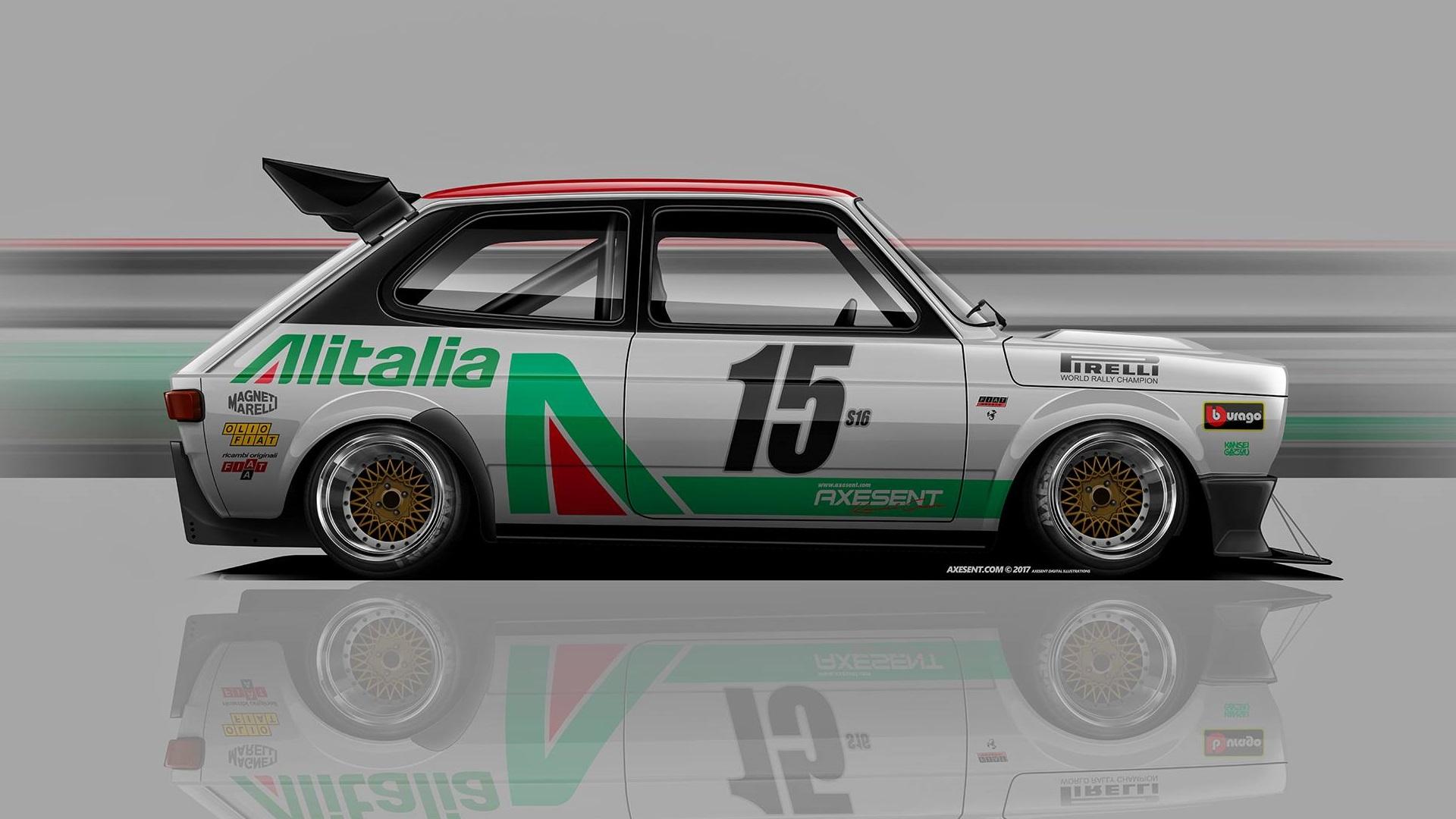 Wallpaper Axesent Creations Fiat 127 Render Race Cars