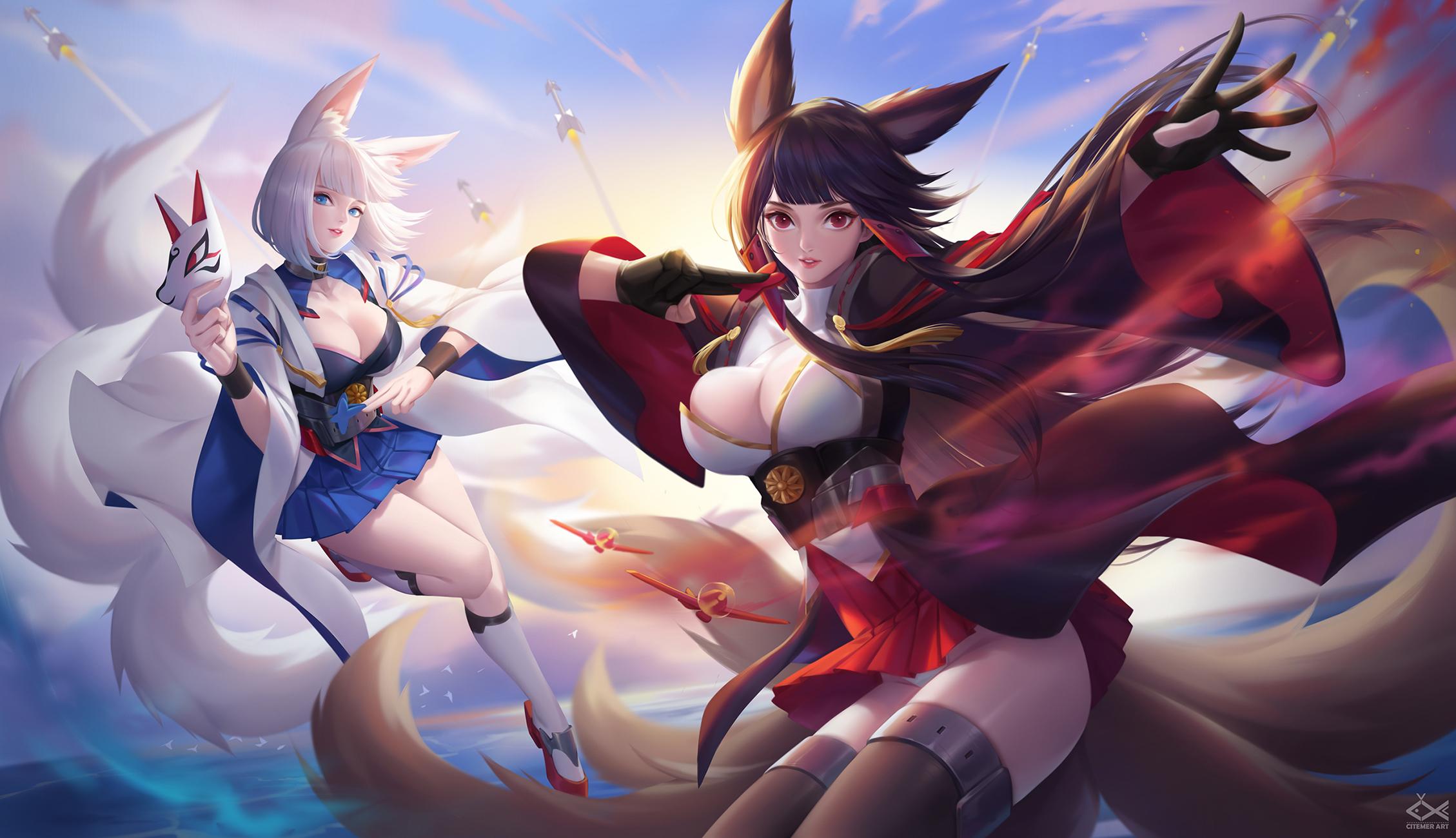 Wallpaper Azur Lane Akagi Azur Lane Kaga Azur Lane Anime Girls