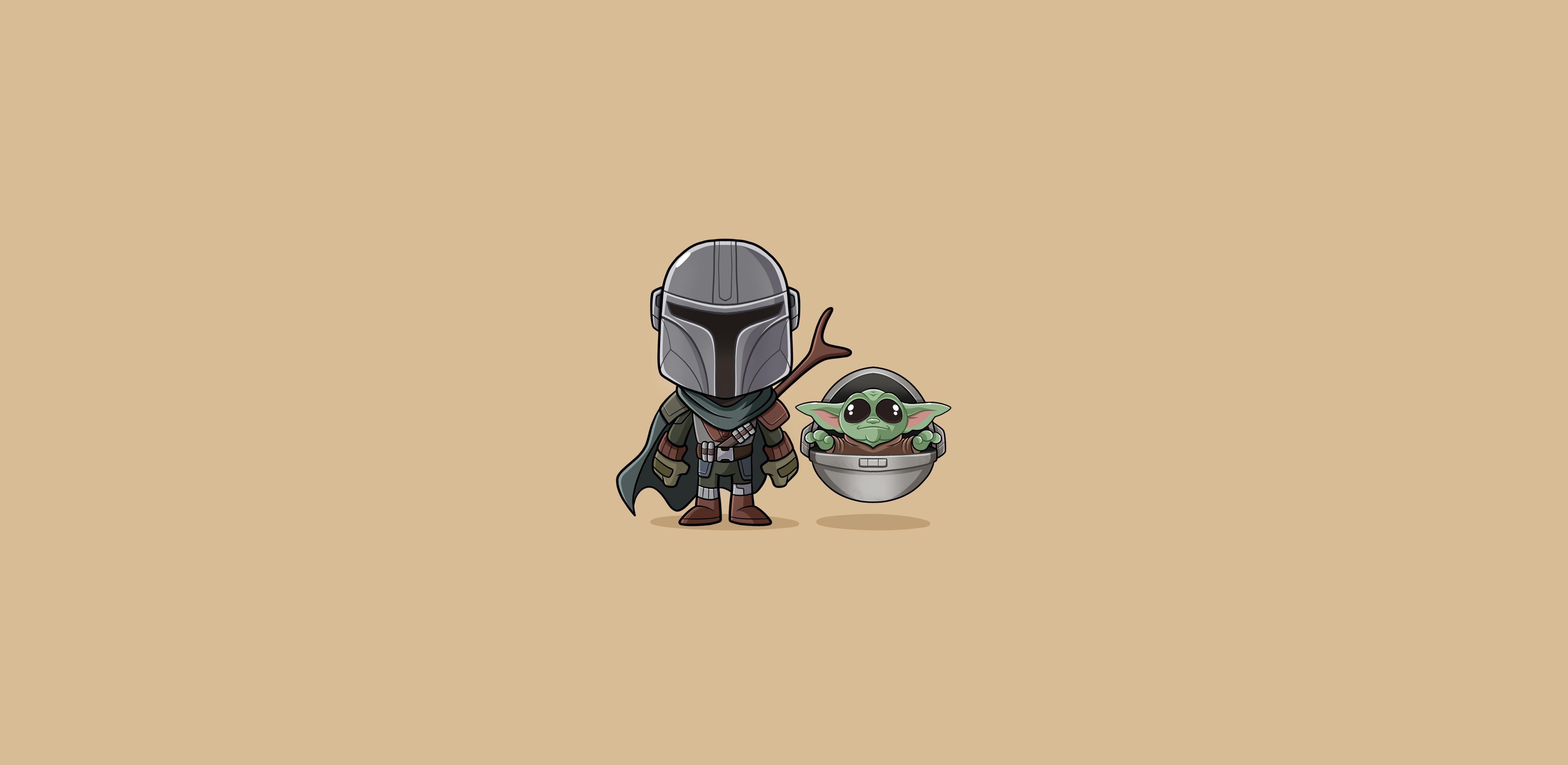 Baby Yoda Star Wars minimalism illustration The Mandalorian 1734267
