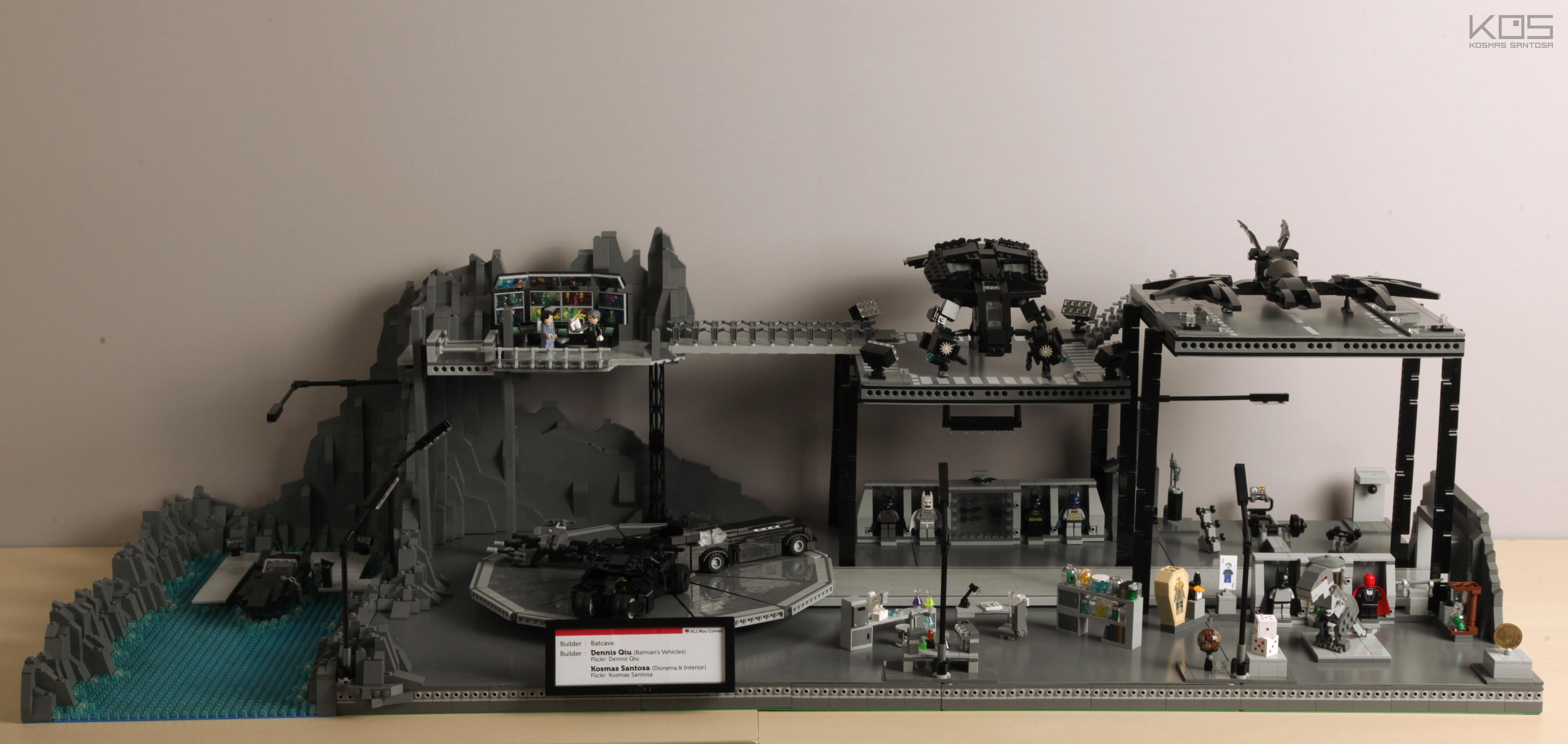 Batcave lab LEGO tech Bruce wayne elevator bat Batman Alfred cave controlroom gym Batmobile Headquarter thebat