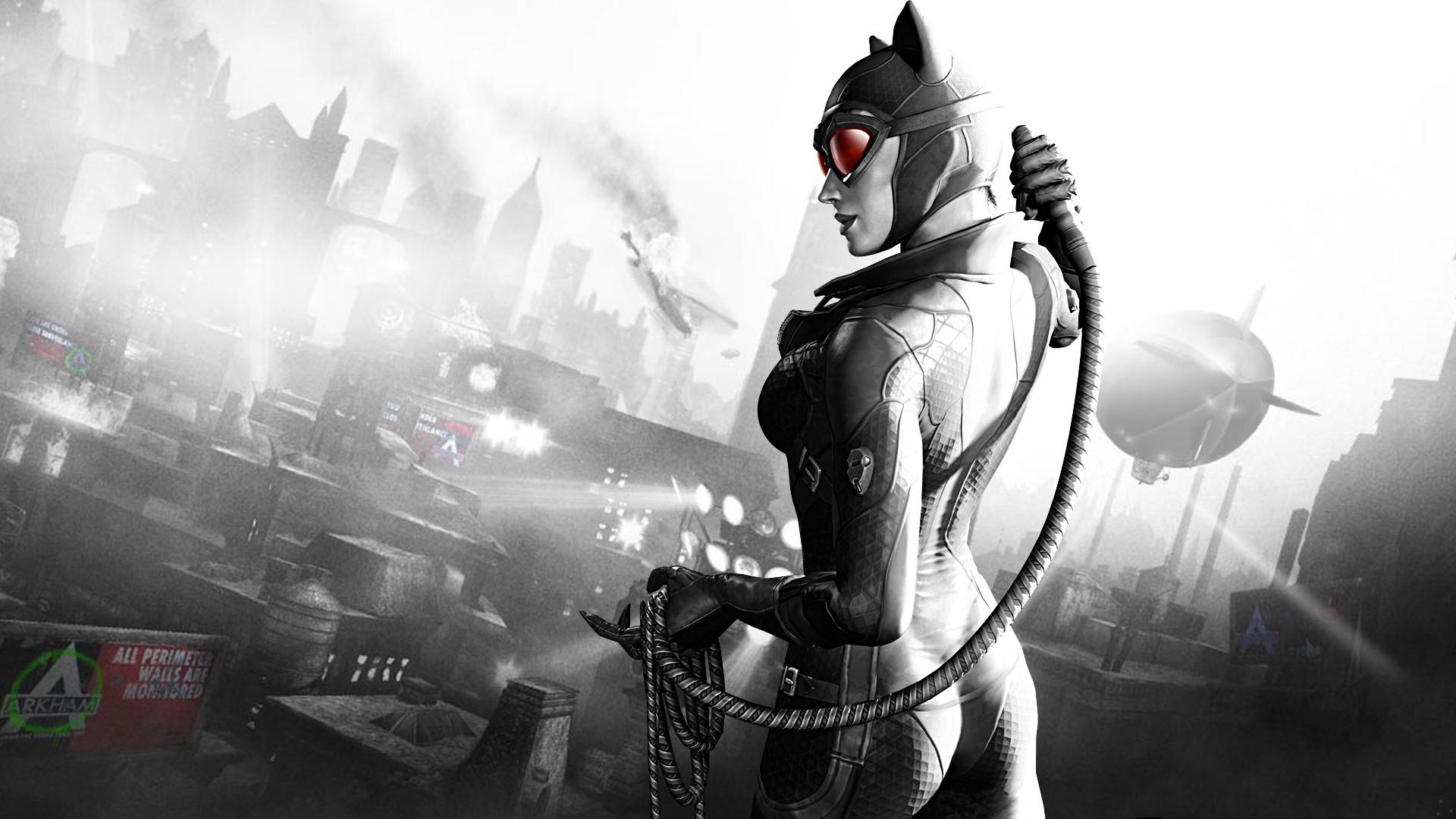 Wallpaper Batman Arkham City Catwoman Girl City Airship Black