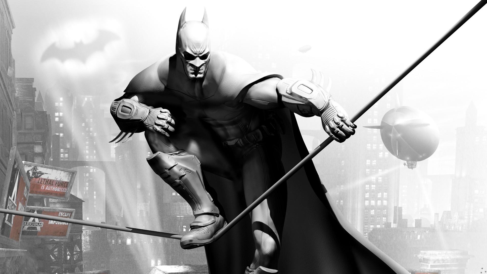 wallpaper : batman arkham city, character, cloak, airship, bat