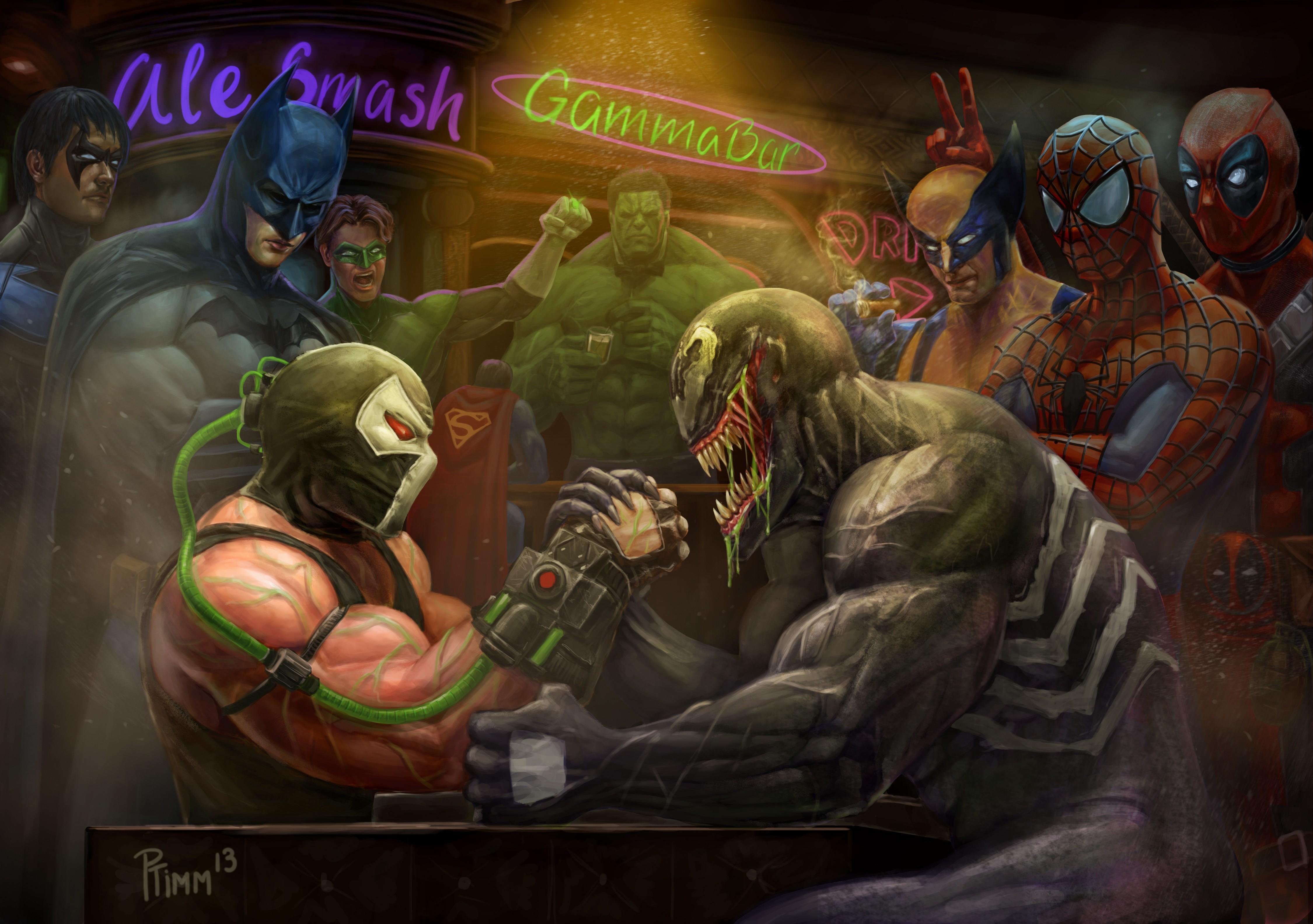 Wallpaper Batman Wolverine Marvel Comics Hulk Dc Comics