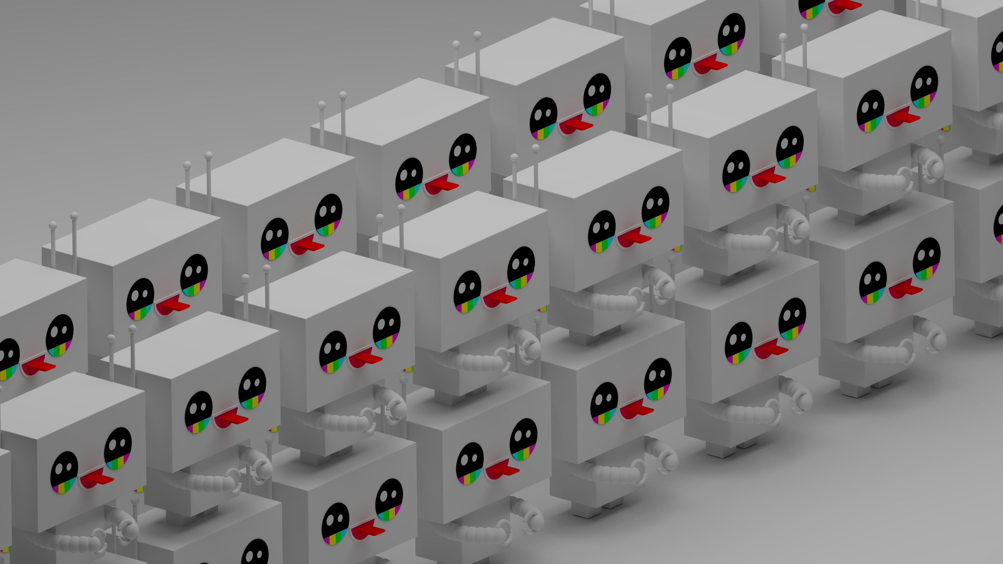 Wallpaper Blender Robot Isometric 3840x2160