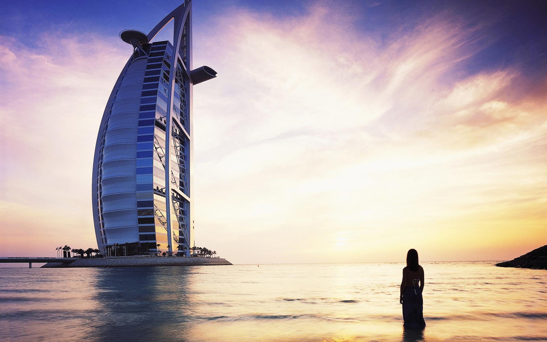 Wallpaper Burj Al Arab Dubai Silhouette Girl 1920x1200
