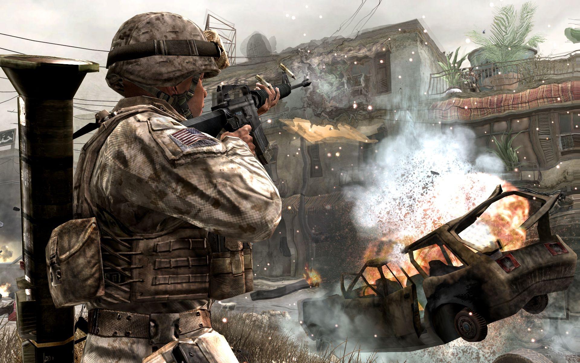 Wallpaper Call Of Duty 4 Modern Warfare Soldiers Machine