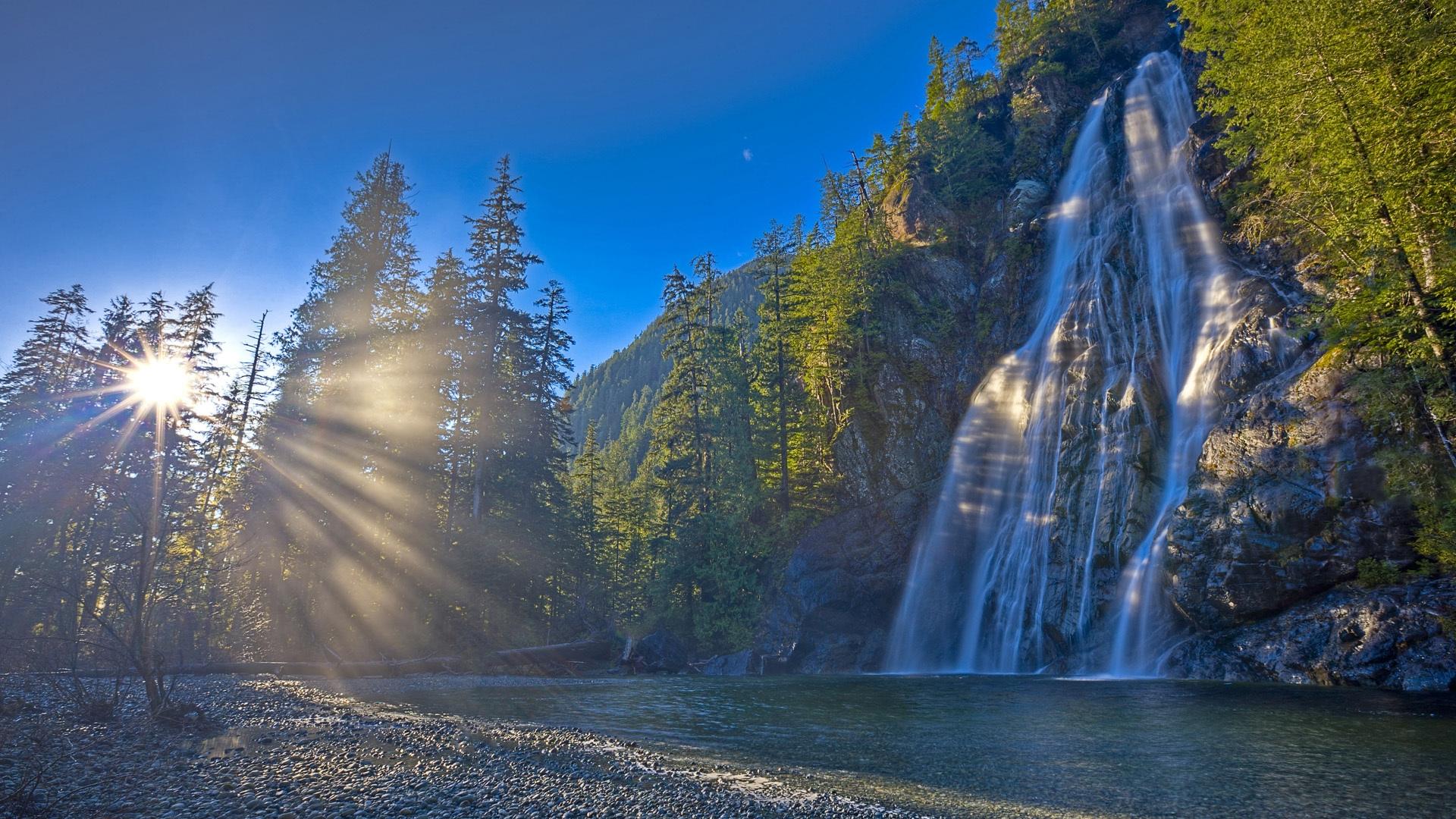 Wallpaper Canada Falls Rocks Sun Light River