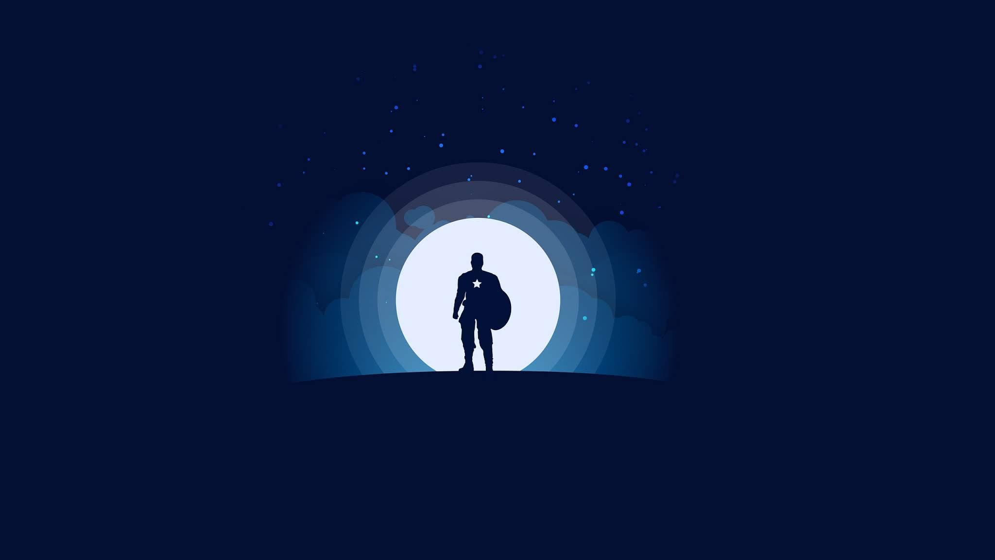 Fond Décran Capitaine Amérique Lune étoiles Super