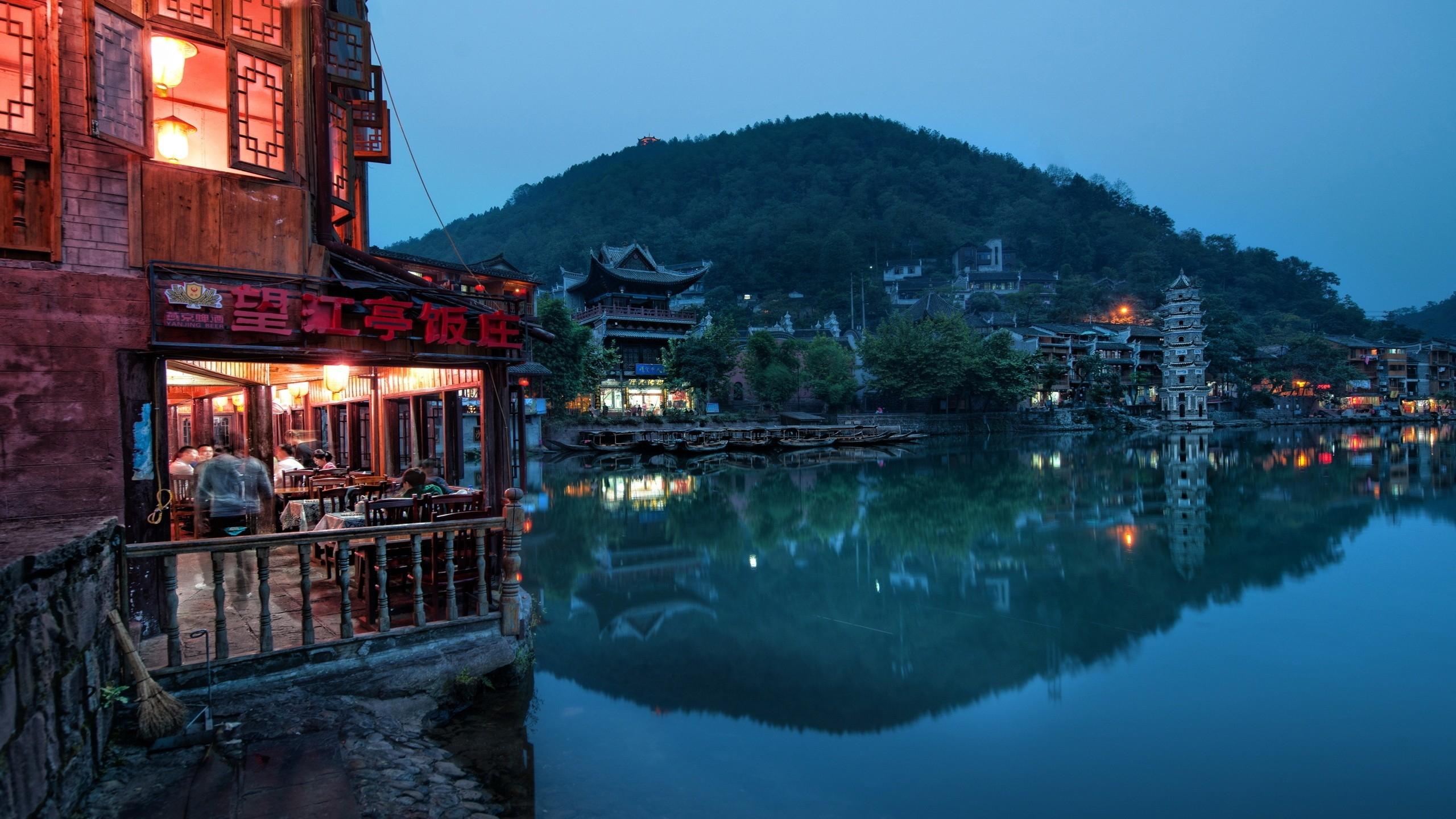 Fond Décran Chine Est Venise Rivière Bâtiment La