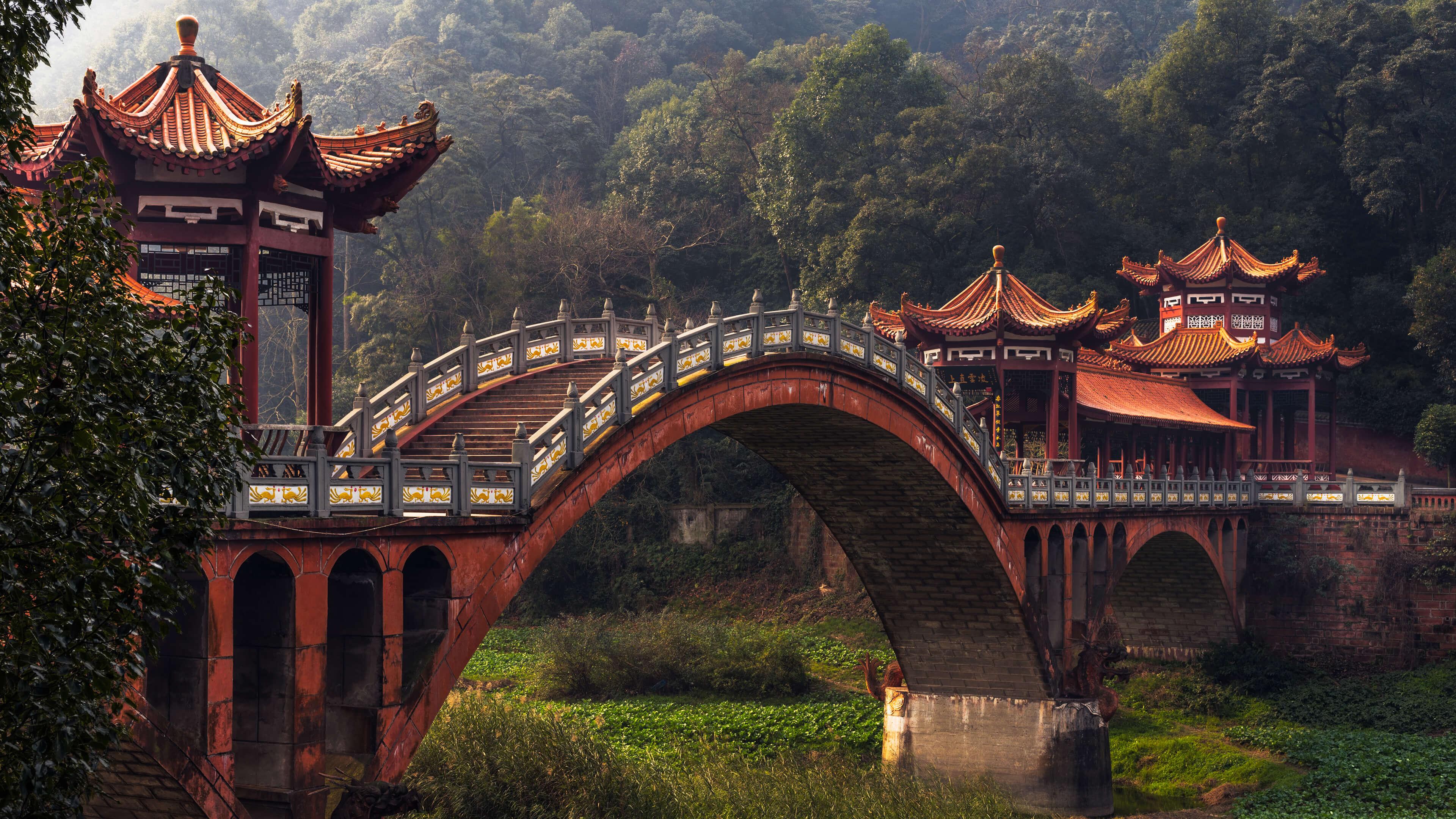 デスクトップ壁紙 中国 自然 ブリッジ 森林 木 アジアの建築 3840x2160 Abredel デスクトップ壁紙 Wallhere