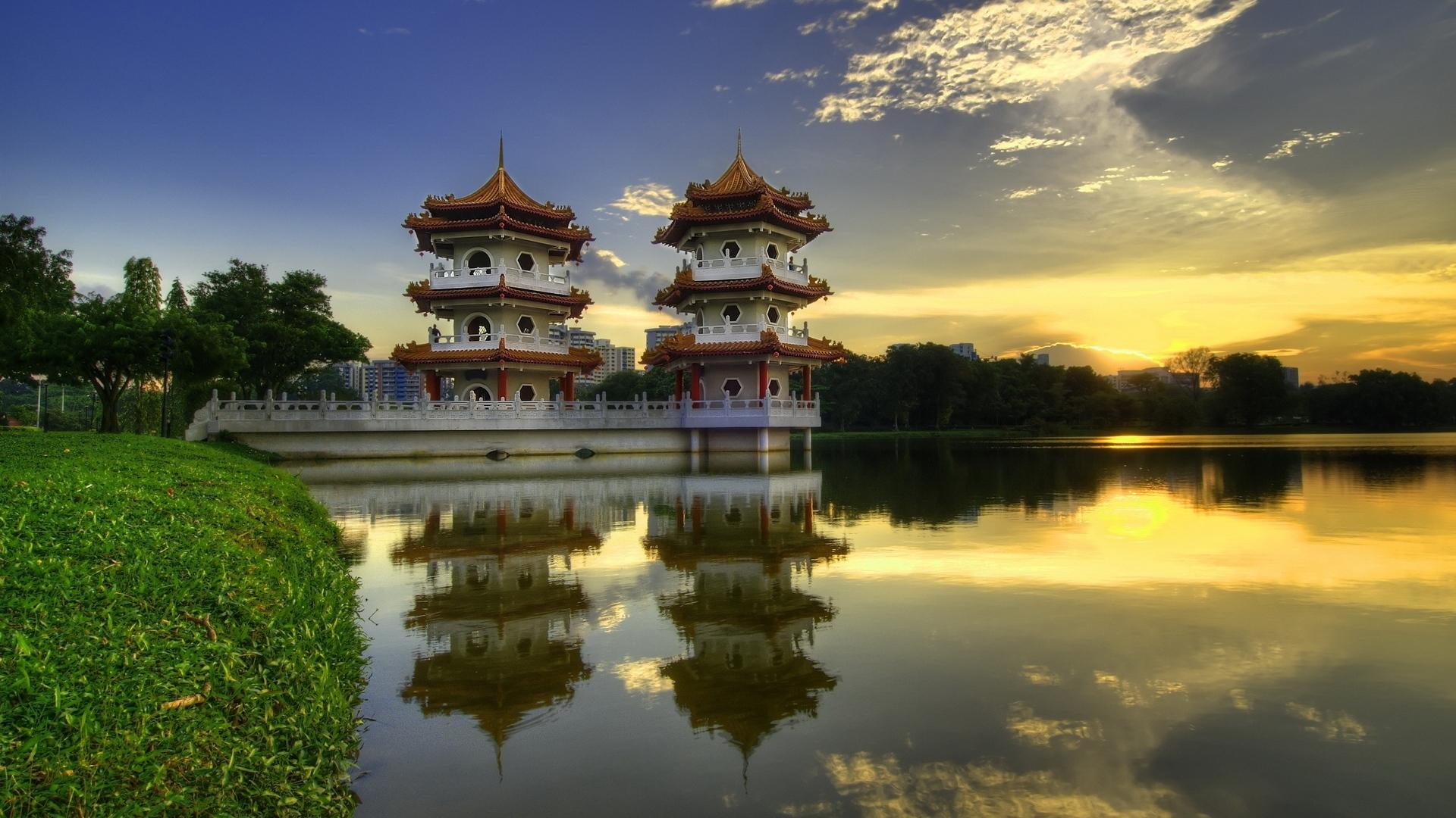 Wallpaper China Pagodas Lake Evening Summer 1920x1080