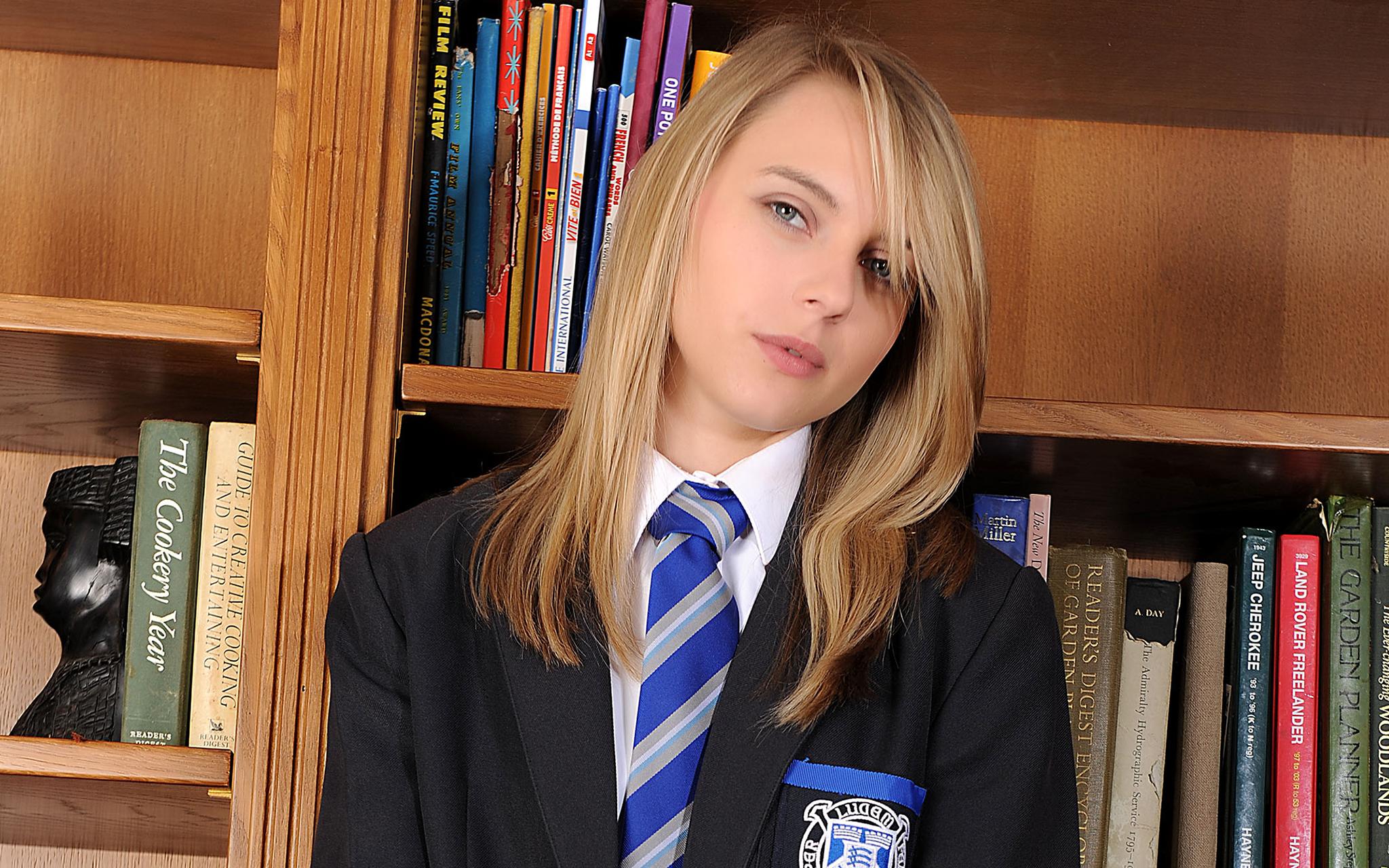 Chloe Toy Blonde Women School Uniform Face Tie Women Indoors