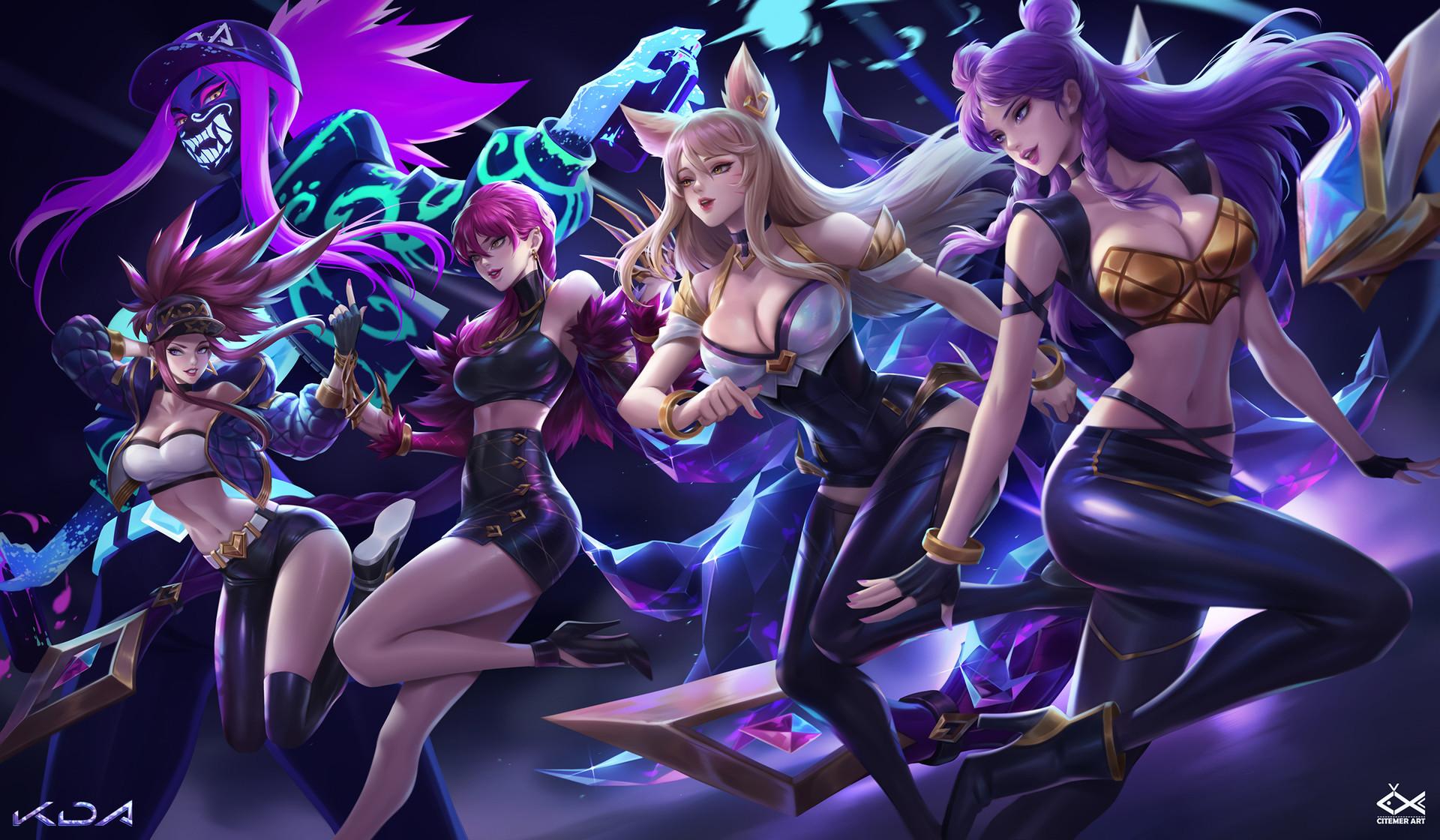 Wallpaper Citemer Liu Akali League Of Legends Evelynn