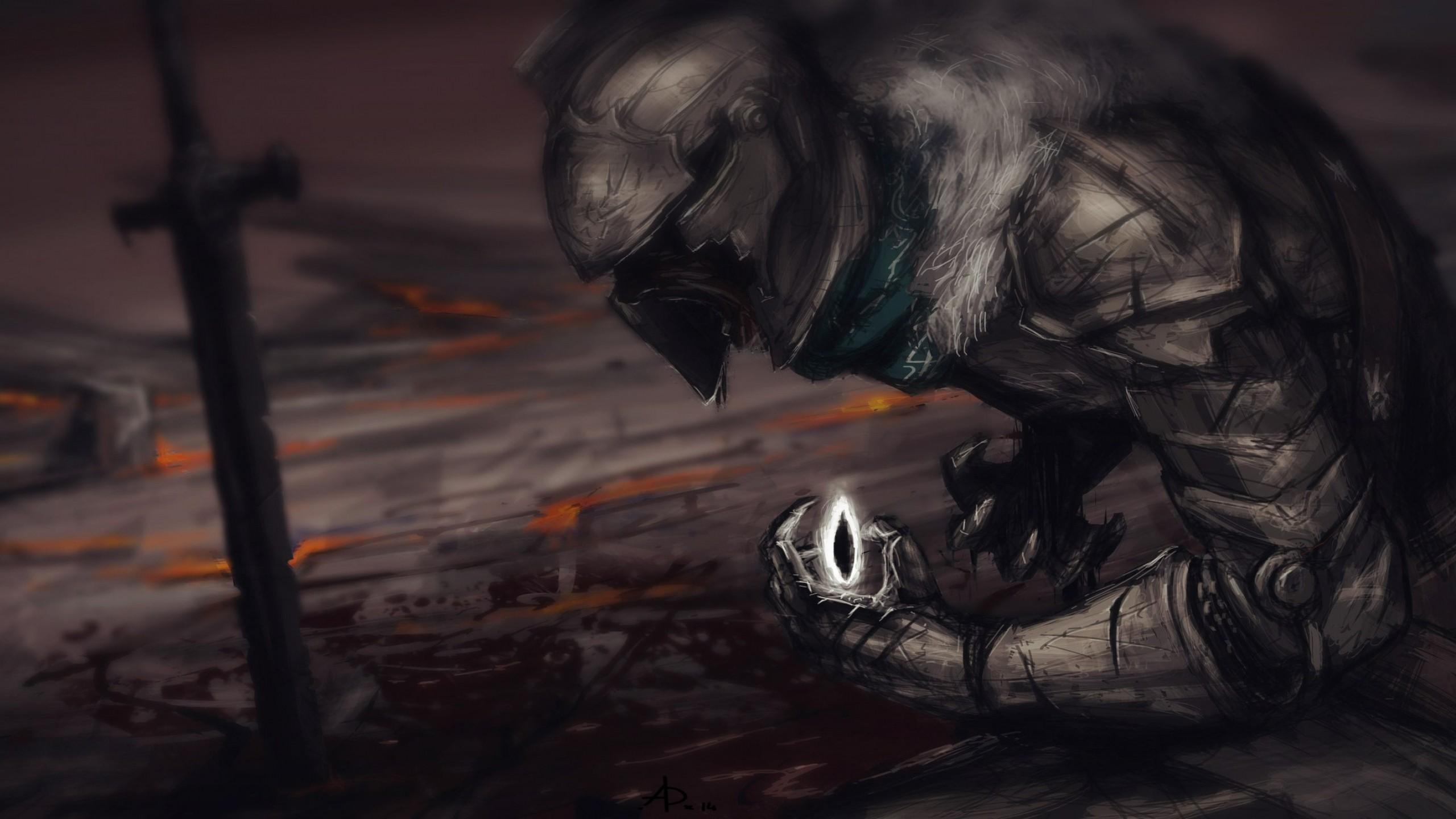 Wallpaper Dark Souls Ii Art Armor Warrior 2560x1440