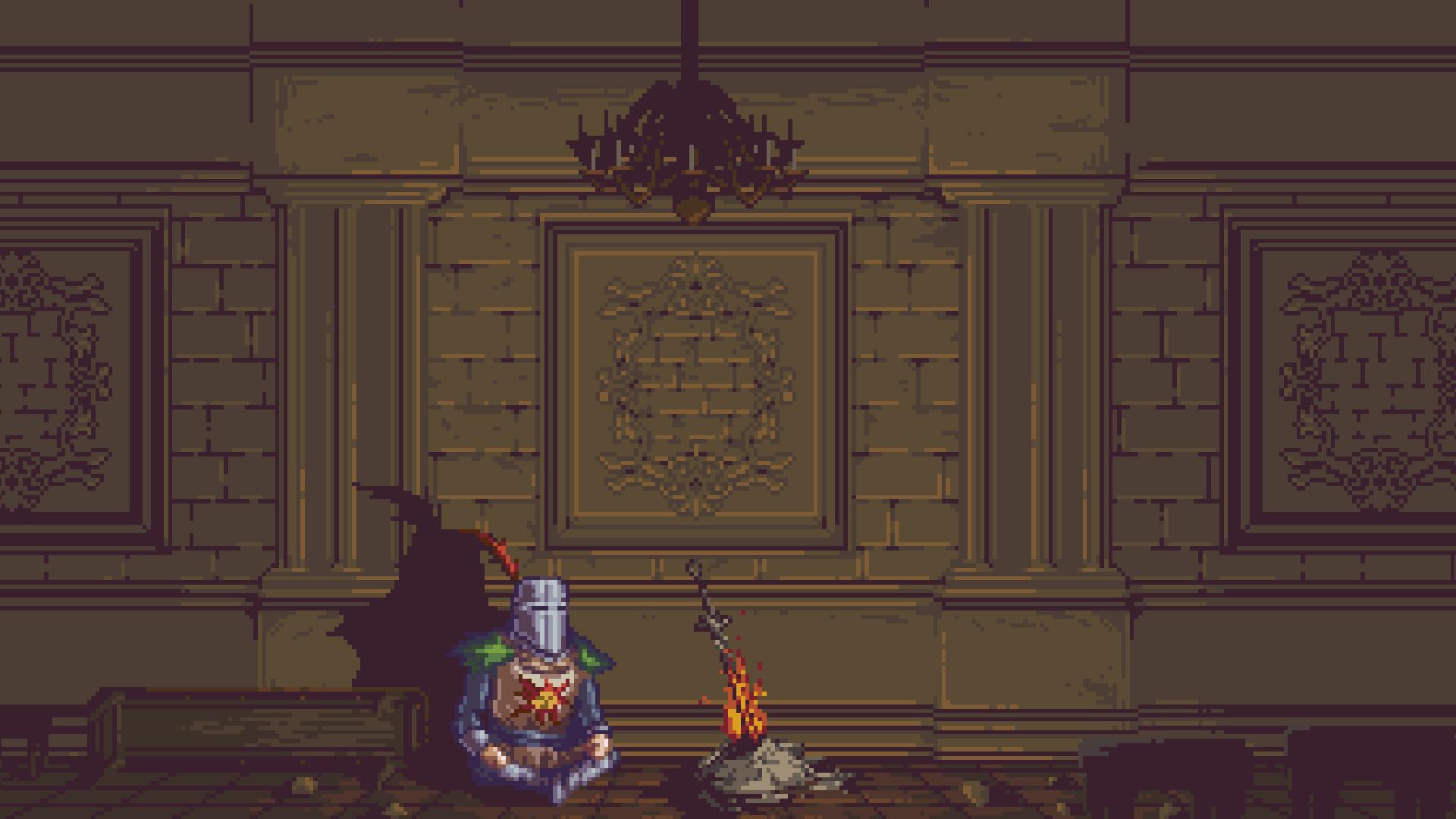 Wallpaper Dark Souls Solaire Pixel Art 1920x1080
