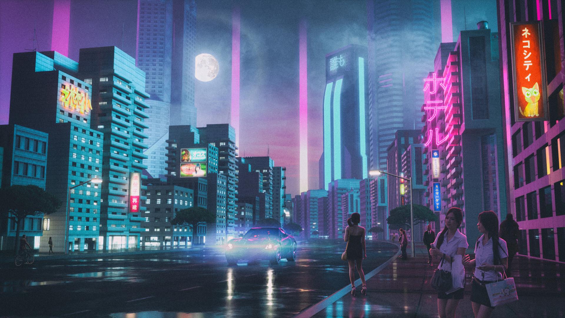 Wallpaper David Legnon Drawing Synthwave Retrowave Cyberpunk Neon Glow Purple Night Moon City People Car 1920x1080 Pitylaugh 1778135 Hd Wallpapers Wallhere