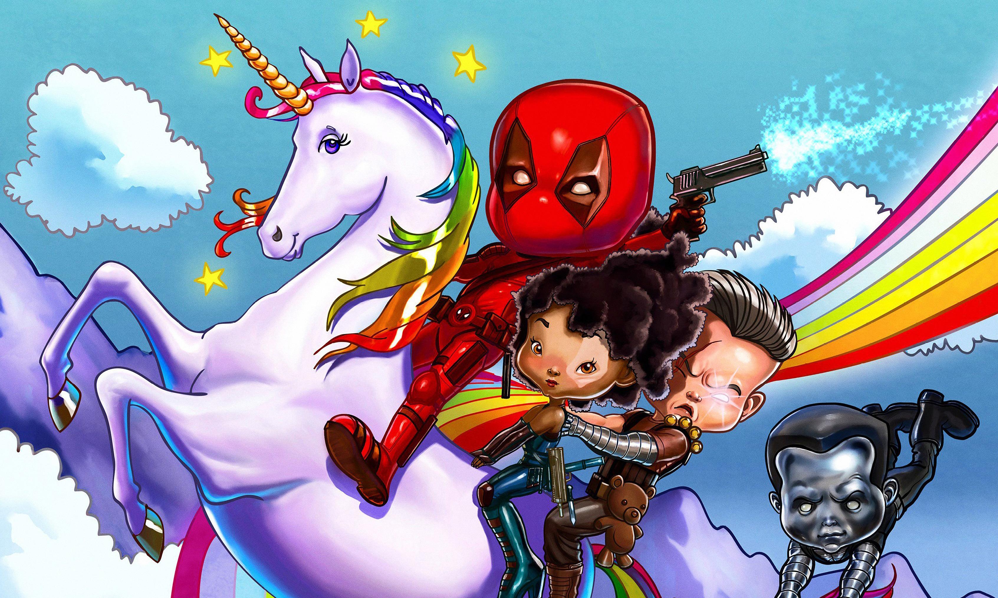 Wallpaper Deadpool 2 Wade Wilson Colossus Cable Fan Art
