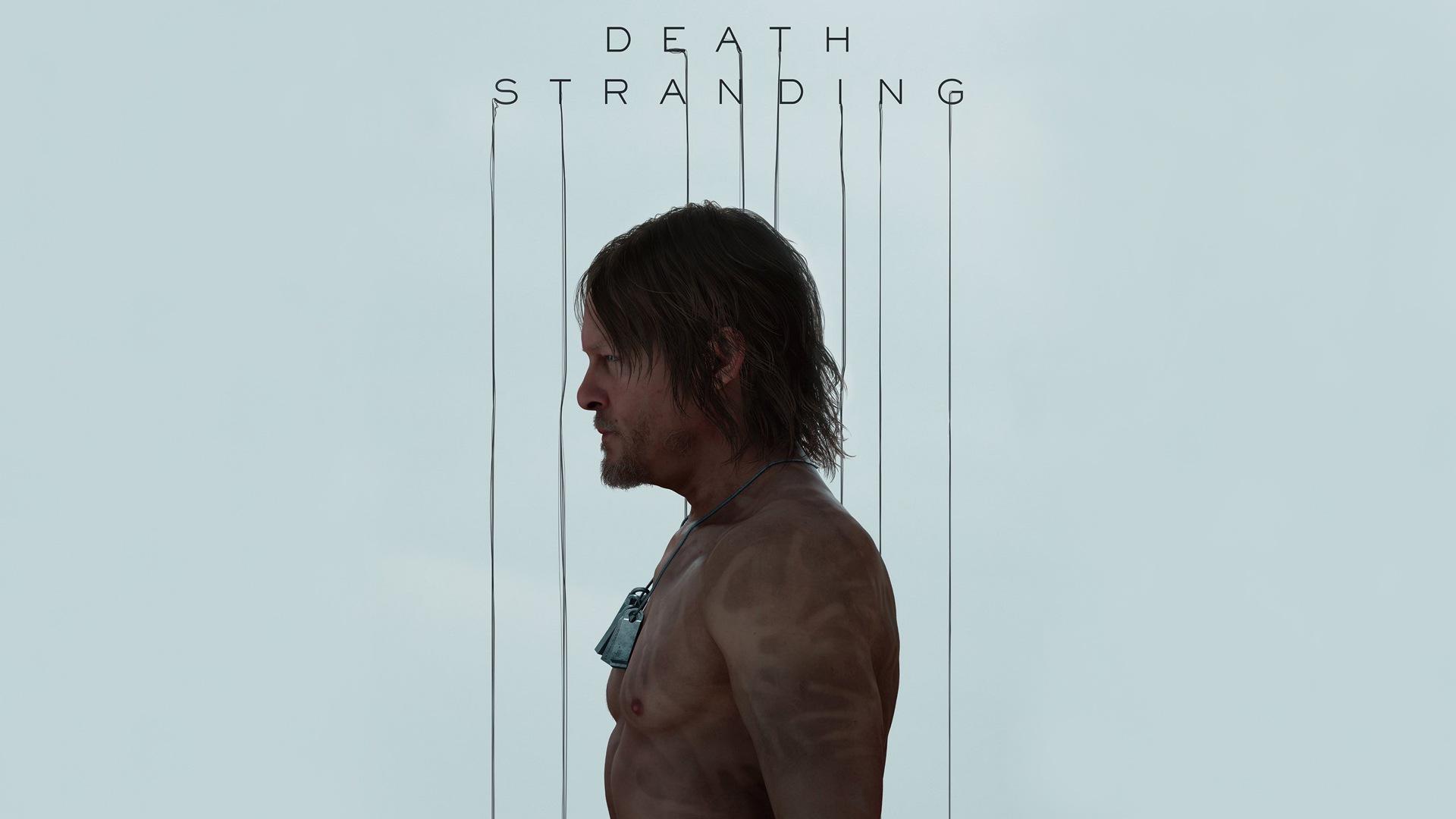 Death Stranding Simple Background Norman Reedus Video Games Men Shirtless Dog Tags Dark Hair