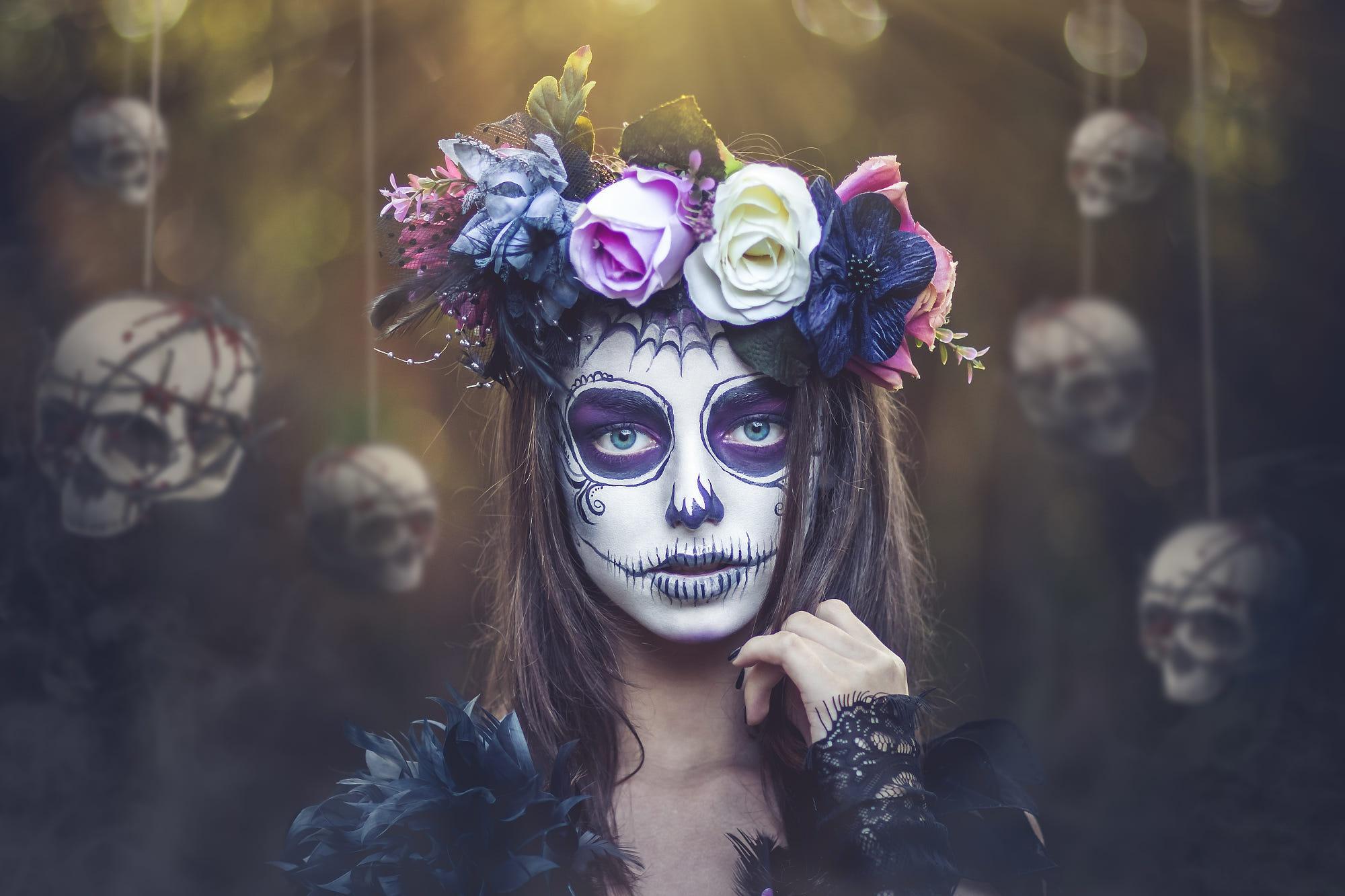Dia de los Muertos makeup fantasy girl skull bones face women