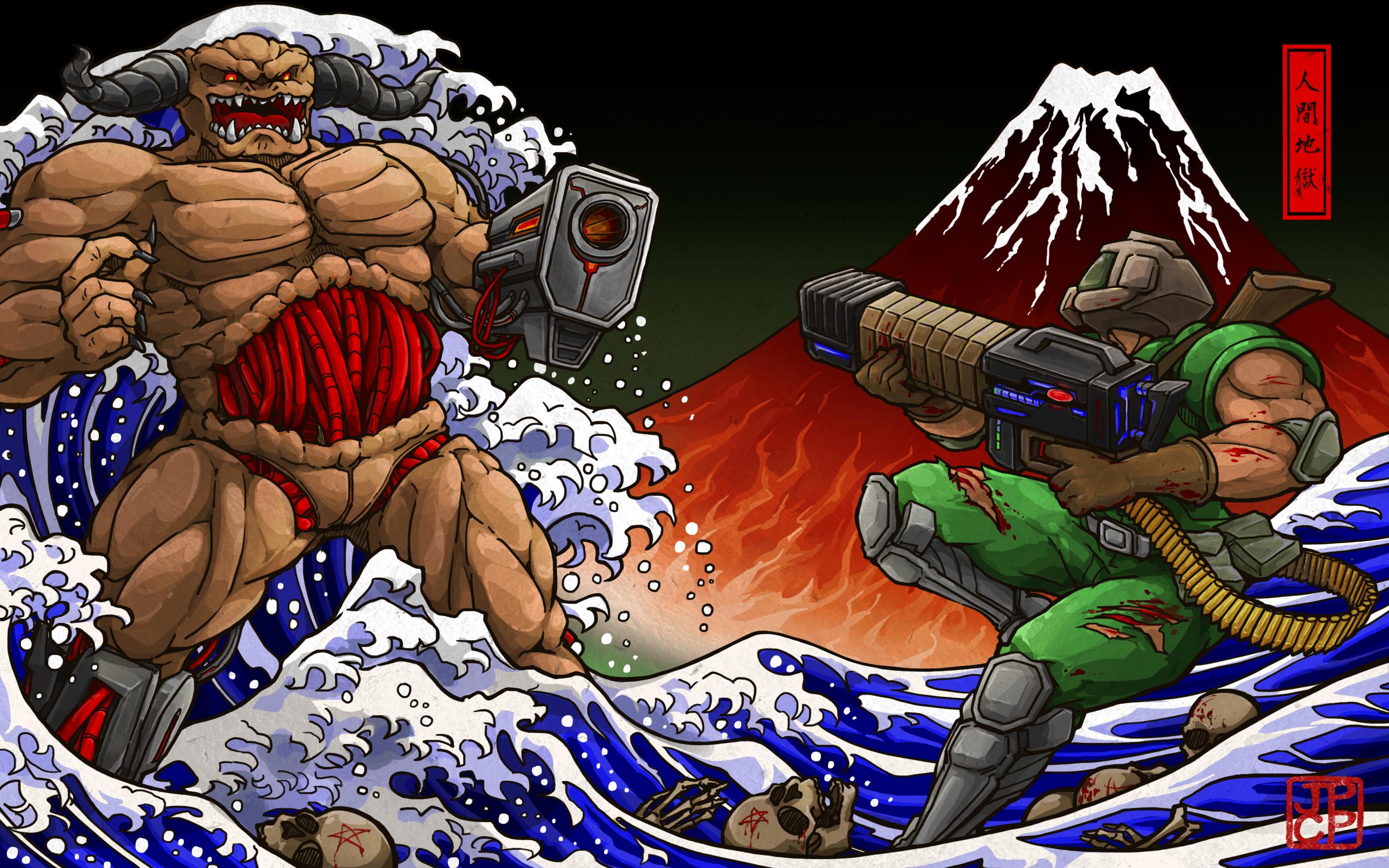 Wallpaper Doom Game Shotgun The Great Wave Off Kanagawa