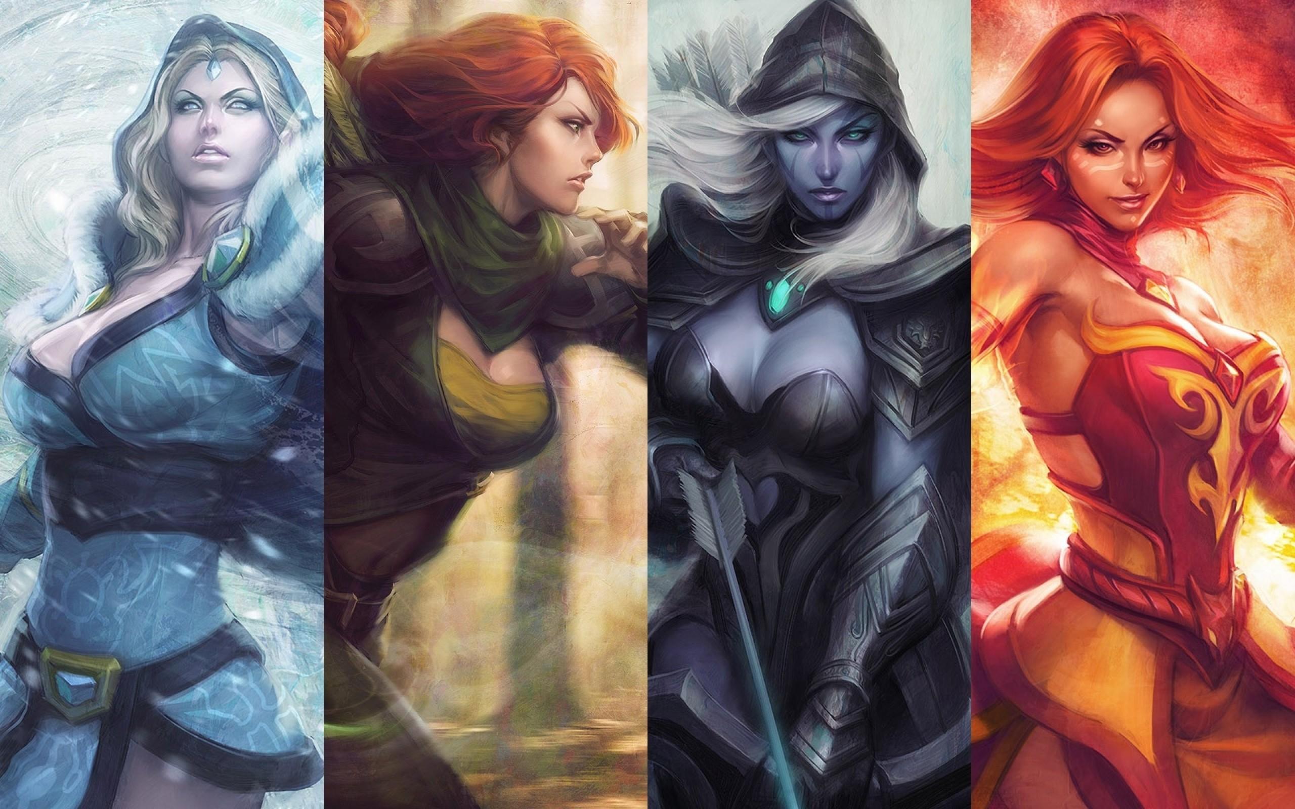 Wallpaper Dota 2 Lina Windrunner Drow Ranger Crystal Maiden