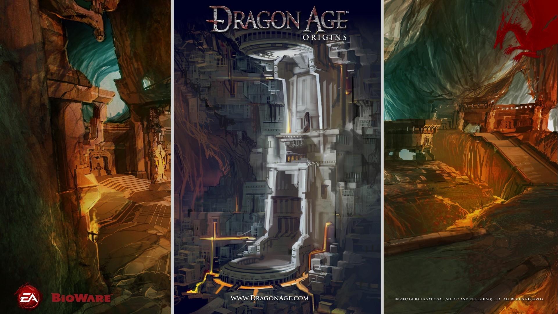 wallpaper : dragon age origins, castle, cave, dragon, light