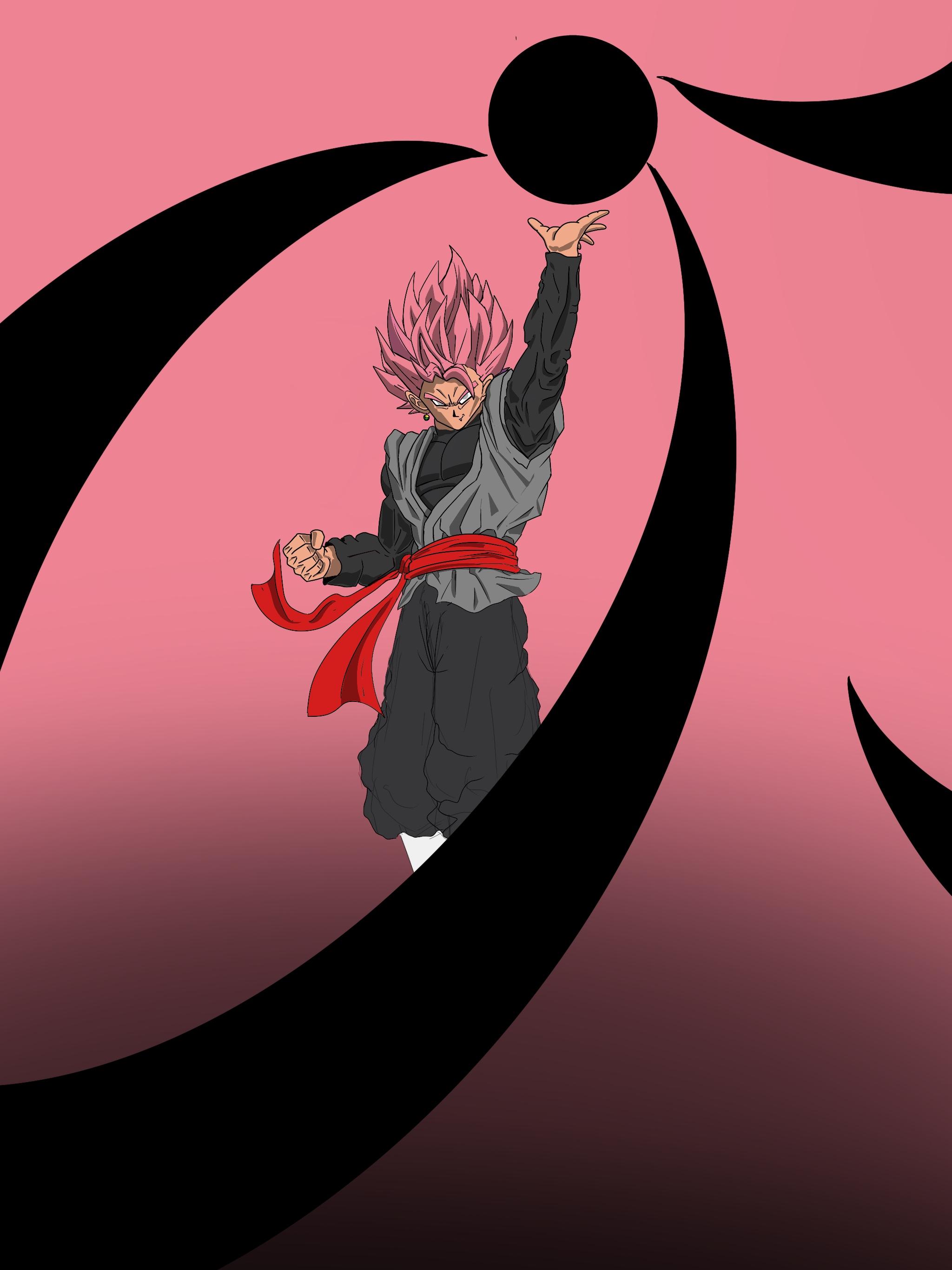 Wallpaper Dragon Ball Super Black Goku Pink Bow Super