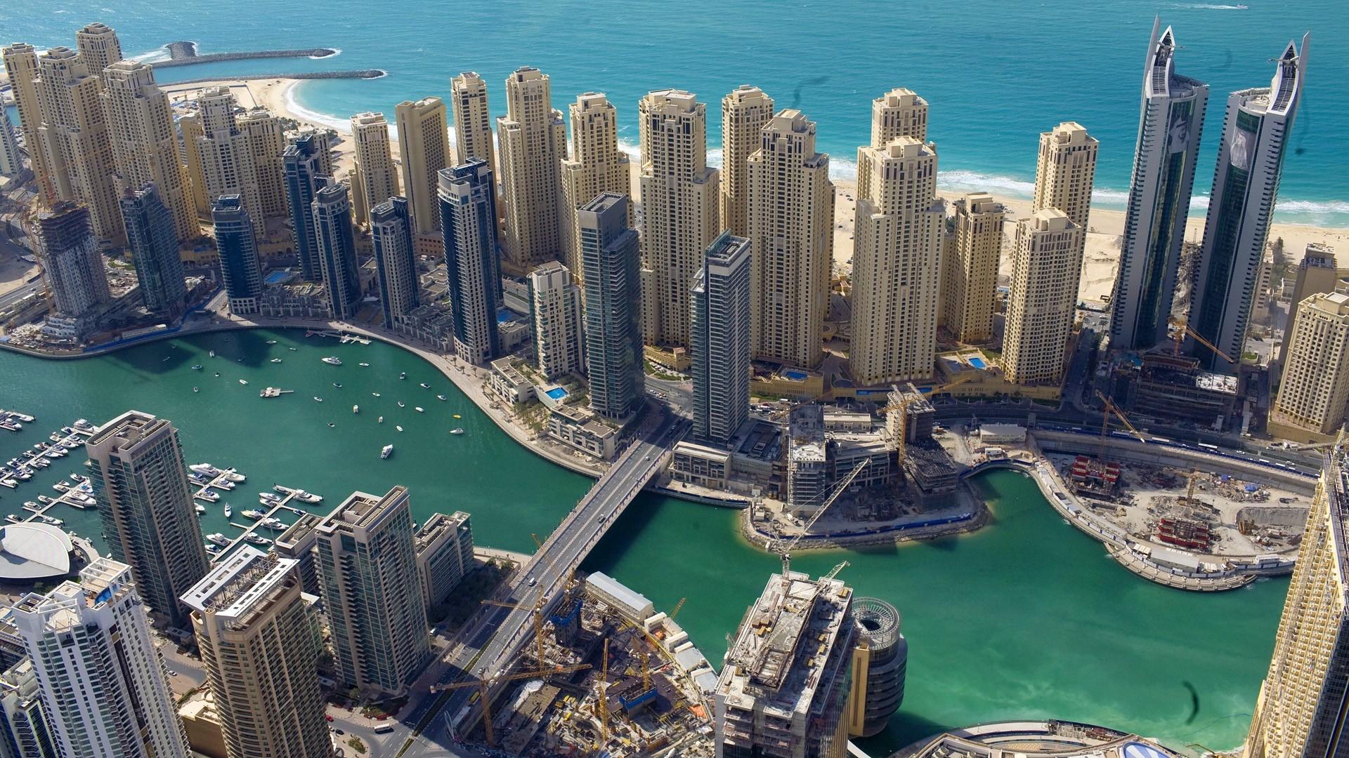 wallpaper : dubai, uae, buildings, skyscrapers, coast, sea, bridge