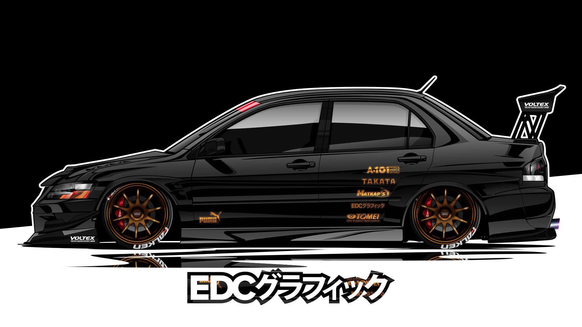 Edc graphics mitsubishi lancer evolution jdm render car artwork black cars vehicle