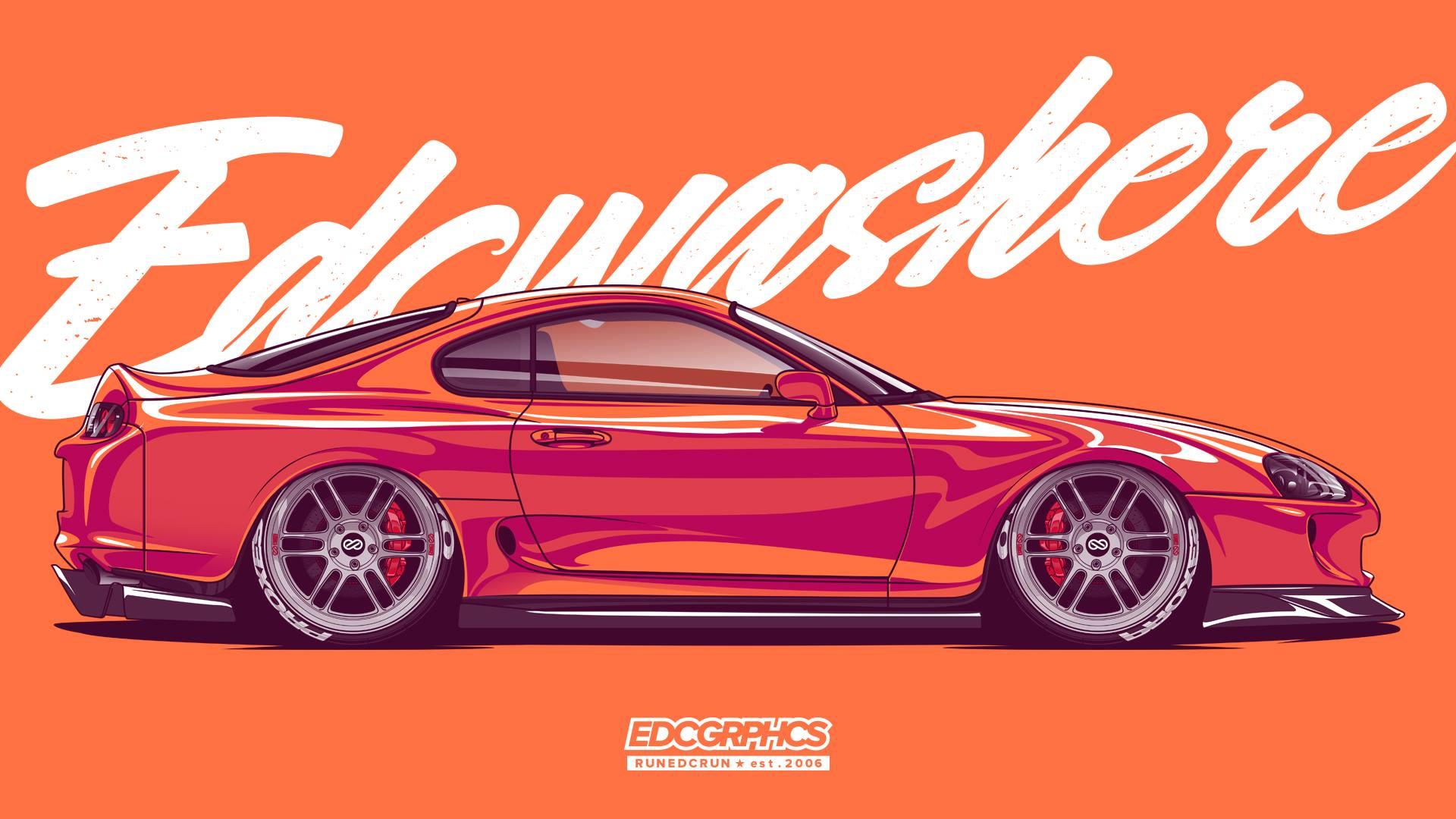 Wallpaper : EDC Graphics, Toyota Supra, JDM, Japanese cars ...