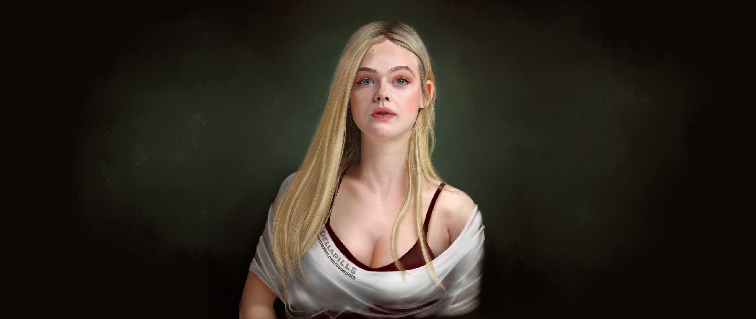Fond d'écran : Elle Fanning, illustration, Peinture ...