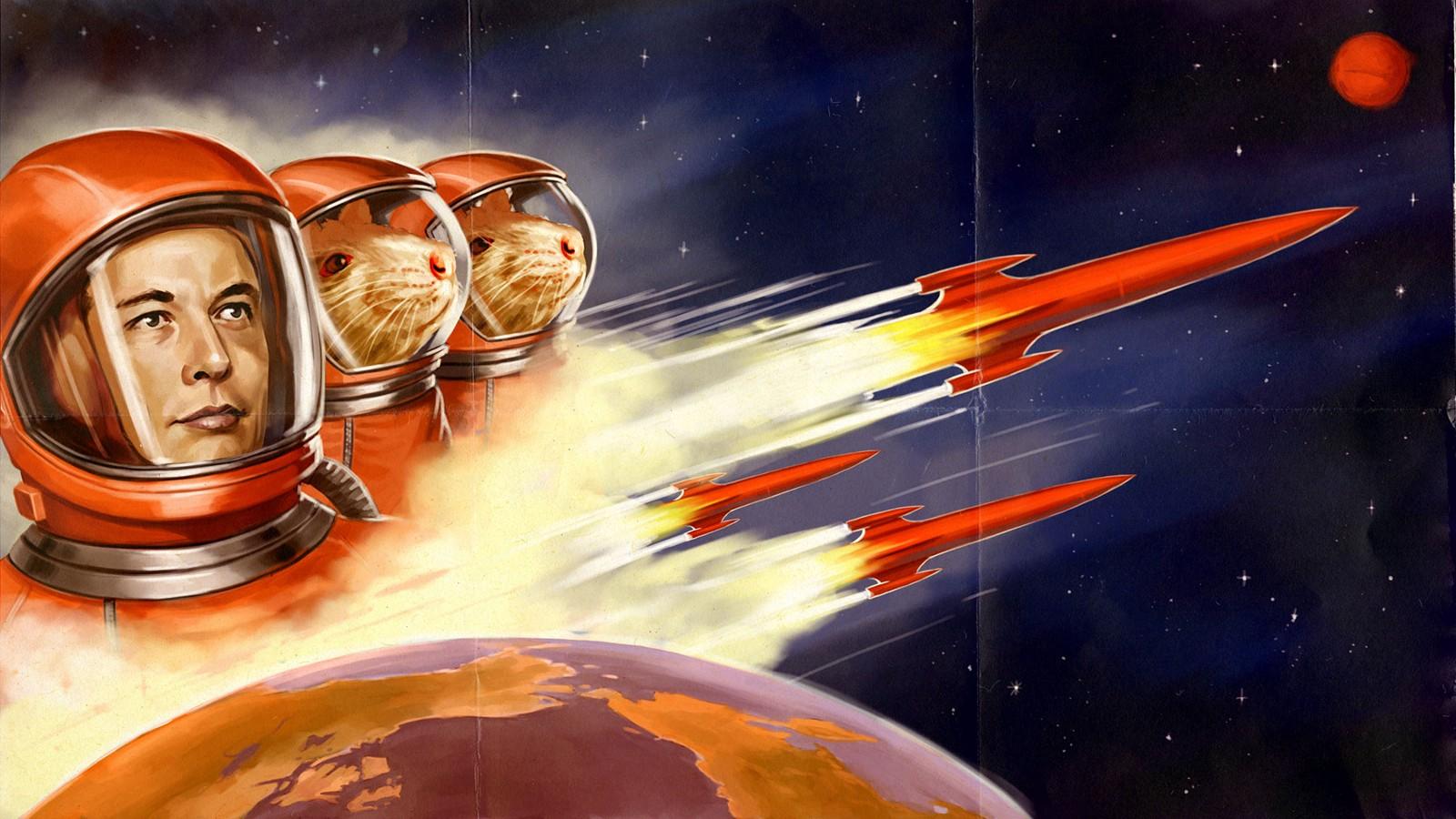 Wallpaper Elon Musk Mice Space Astronaut 1600x900