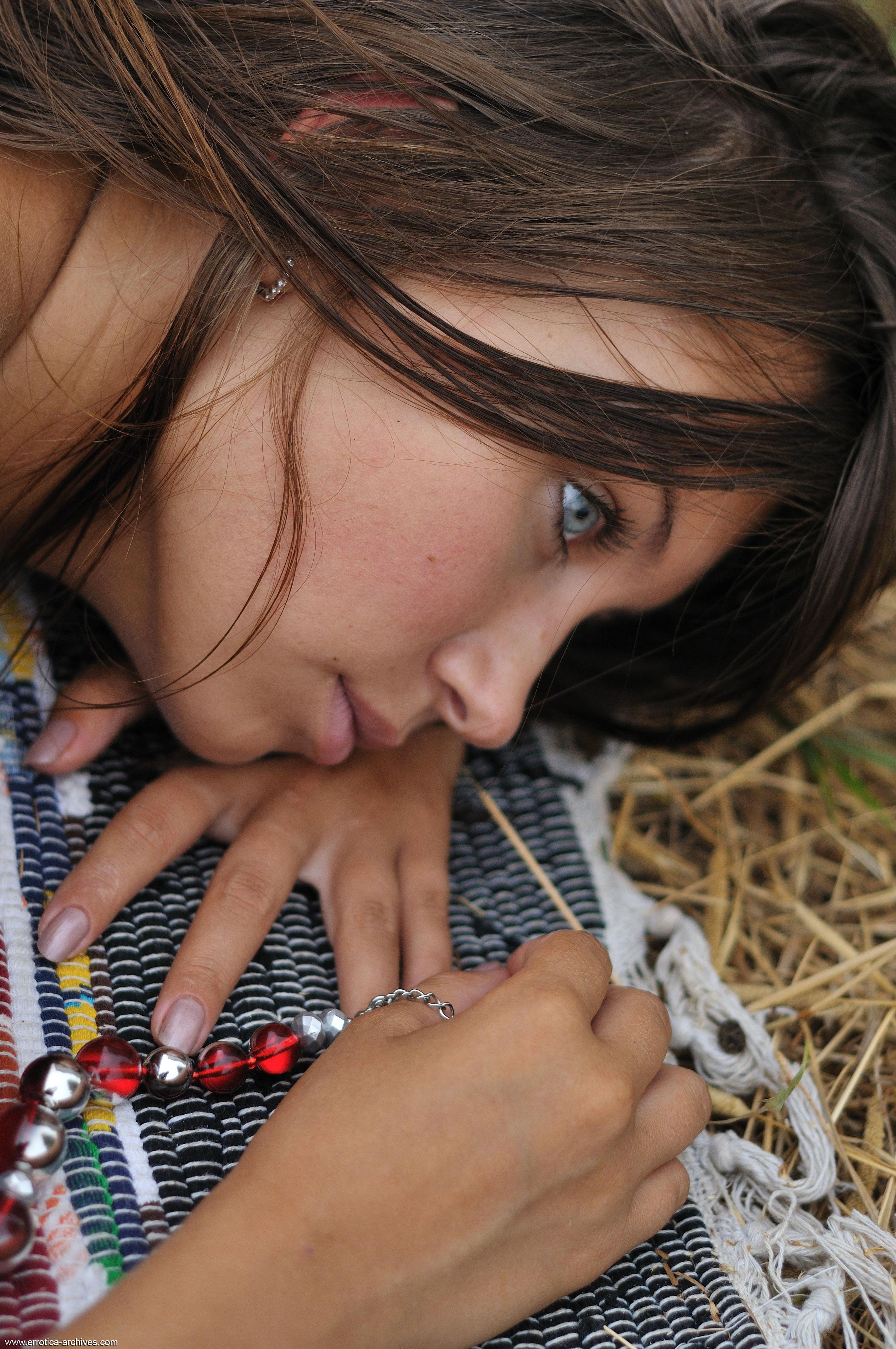 Errotica Archives Magazine Errotica Archives Women Brunette Blue Eyes Long Hair Towel Grass Necklace Katarina B
