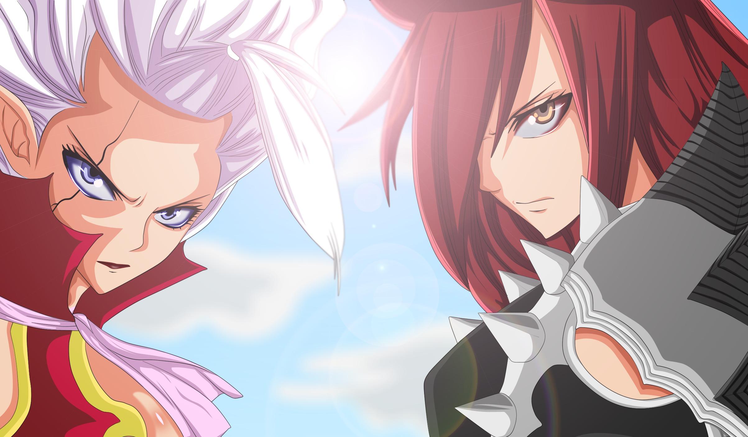 Wallpaper Fairy Tail Erza Scarlet Mirajane Strauss Face Anime