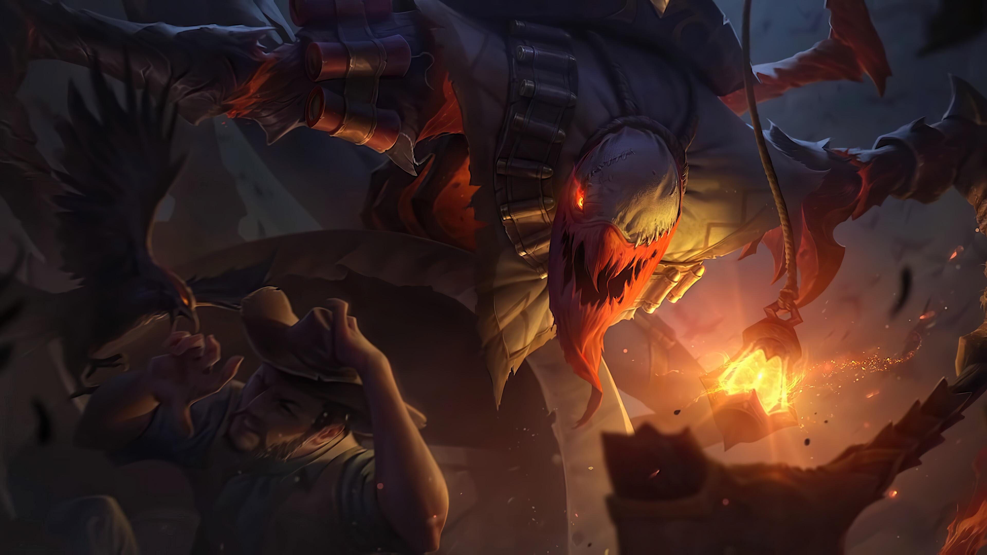 Wallpaper Fiddlesticks League Of Legends Riot Games Pumpkin