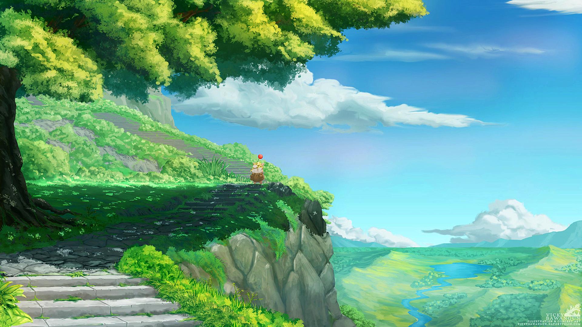 Wallpaper Final Fantasy Ix Stiltzkin Moogle Landscape