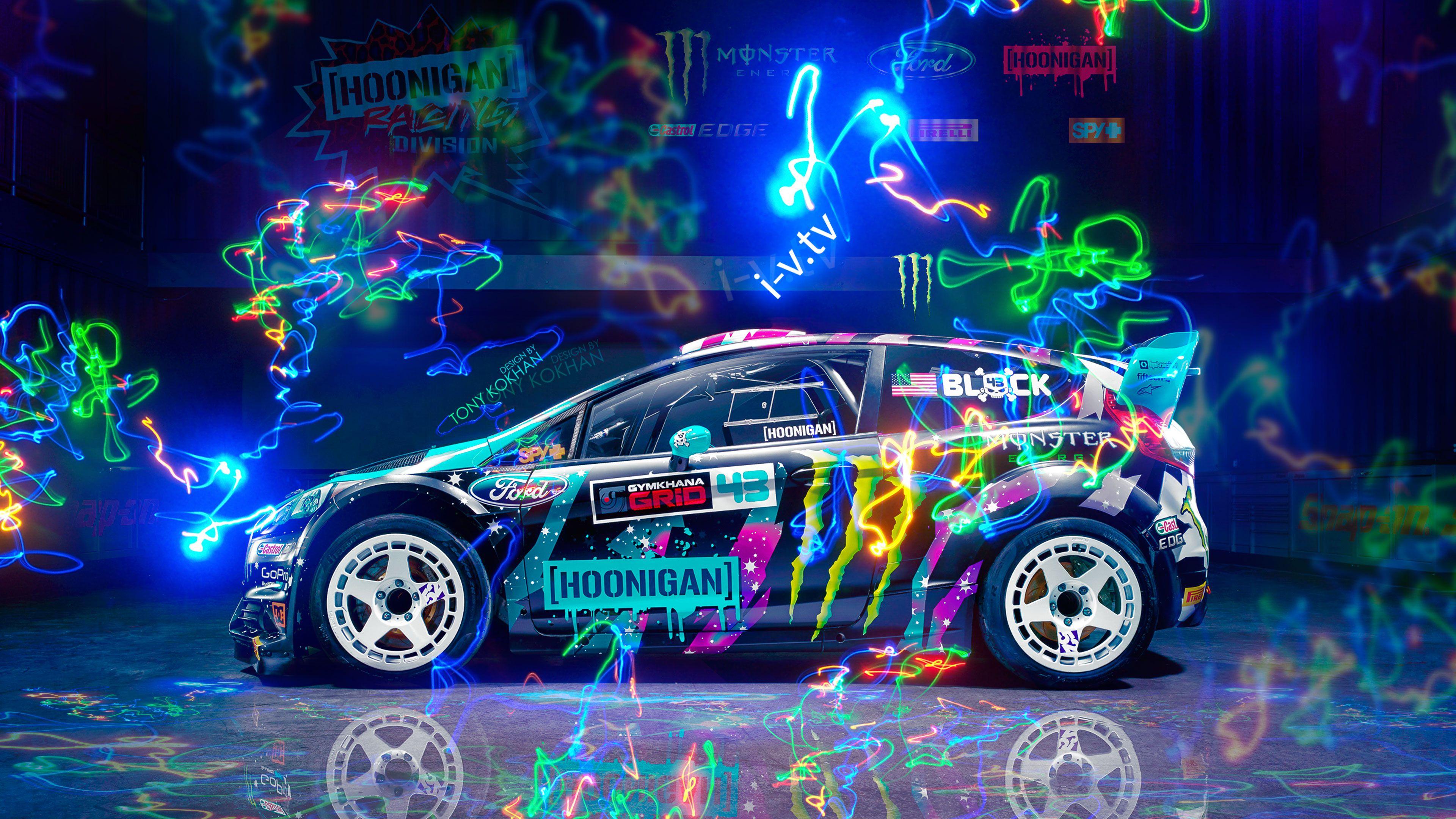Wallpaper Ford Fiesta Colorful Car Hoonigan Ken Block 3840x2160 Ripperdcd 1303795 Hd Wallpapers Wallhere