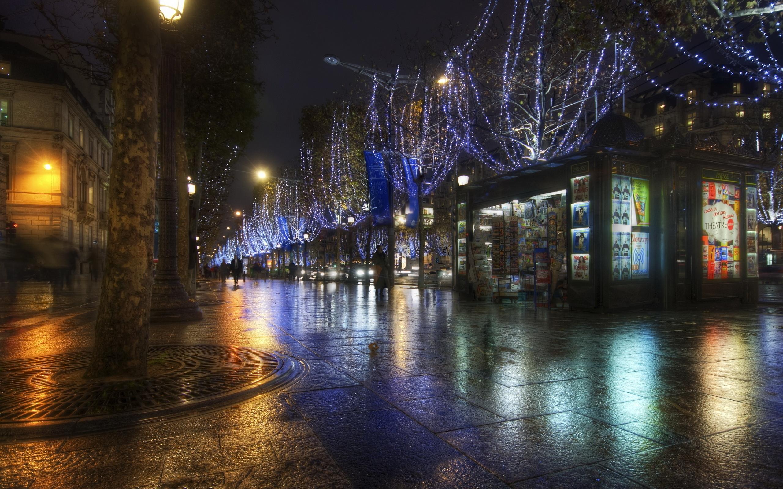 Sfondi : francia notte parigi illuminazione strada hdr