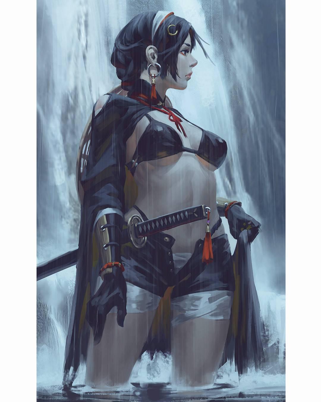 Wallpaper : GUWEIZ, samurai, sword