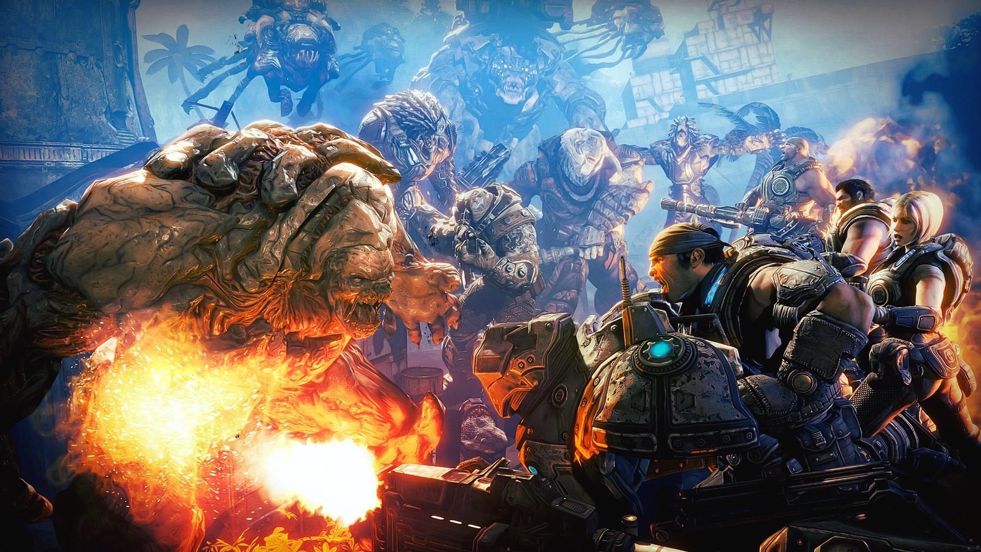 Gears of War monster shooting soldiers Scream Marcus Fenix