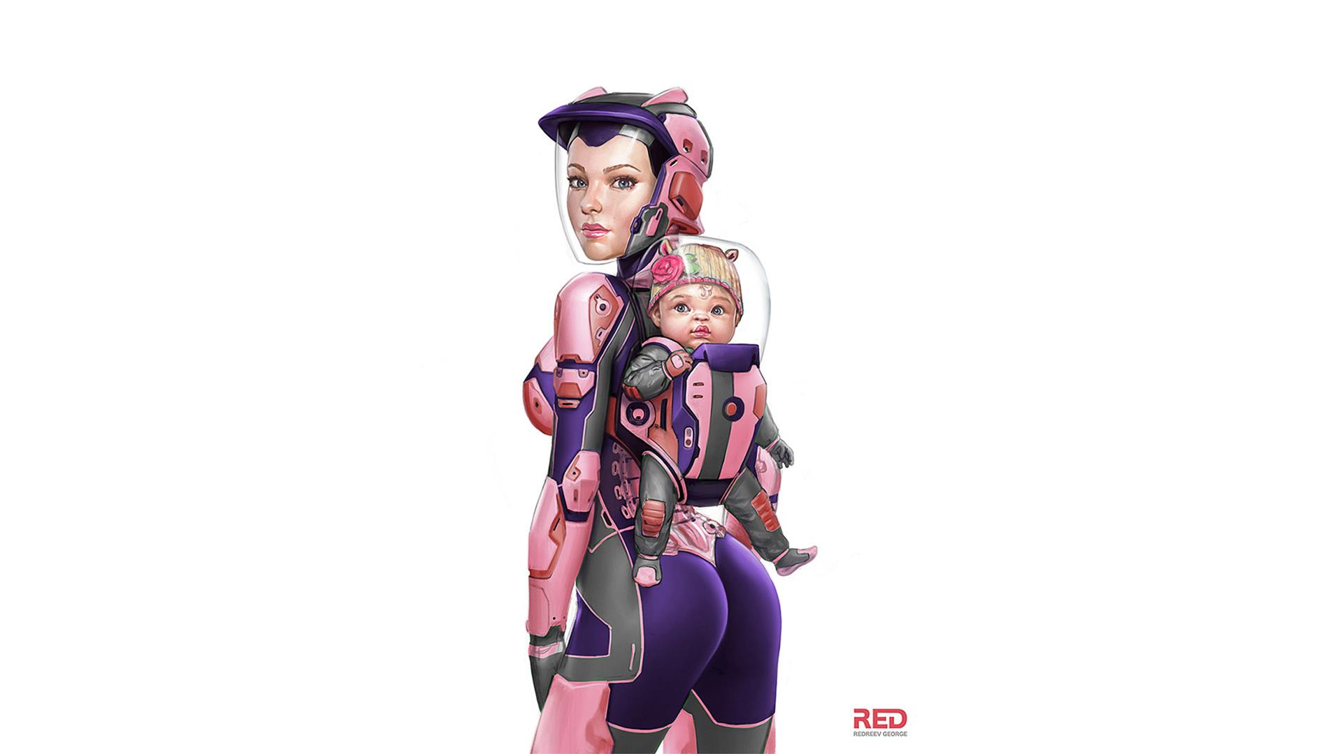 Wallpaper George Redreev Futuristic Baby White Blank Pink