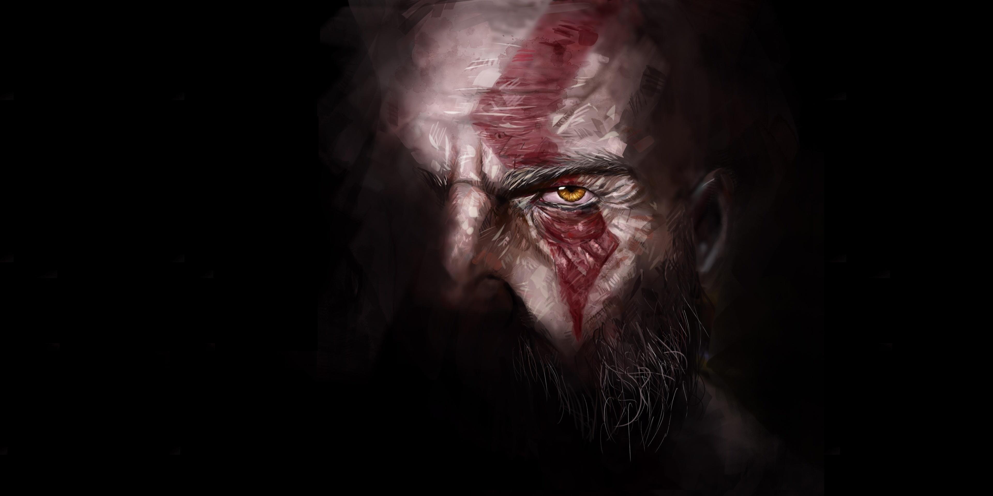 Wallpaper God Of War Digital Kratos Dark 3840x1920