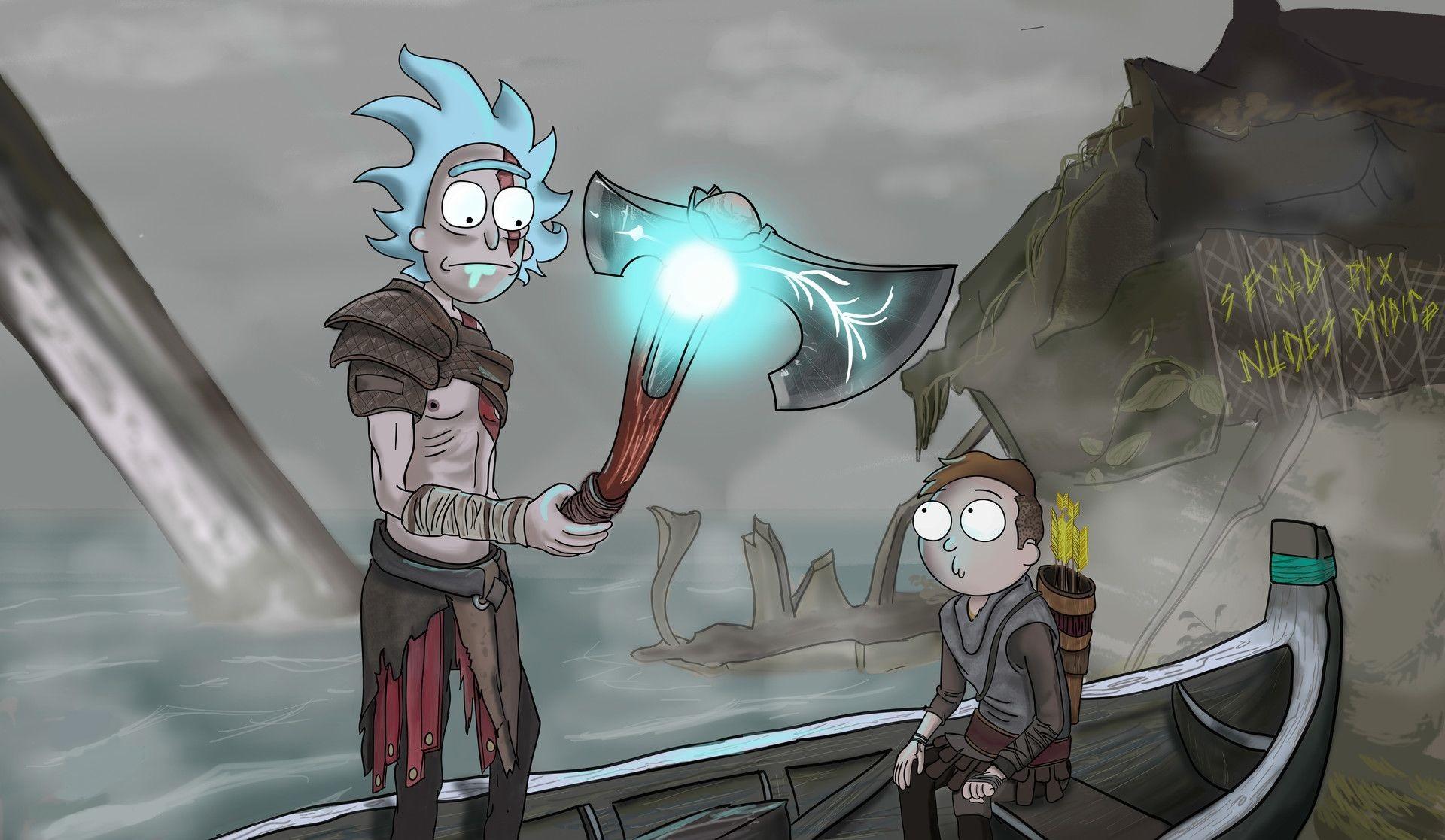 Wallpaper God Of War Fan Art Rick And Morty Drawing