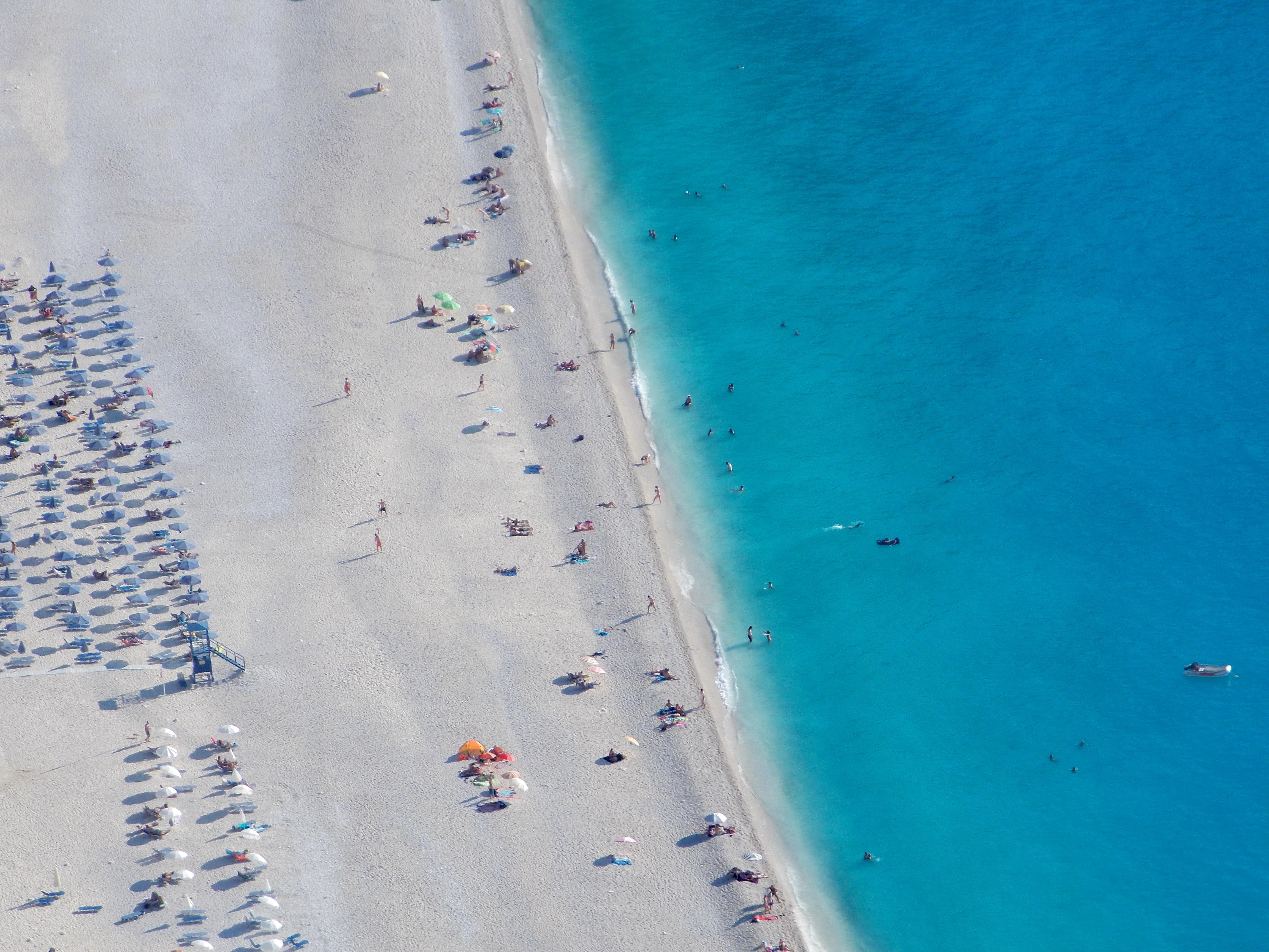 Greece kefalonia myrtos beach view birds eye