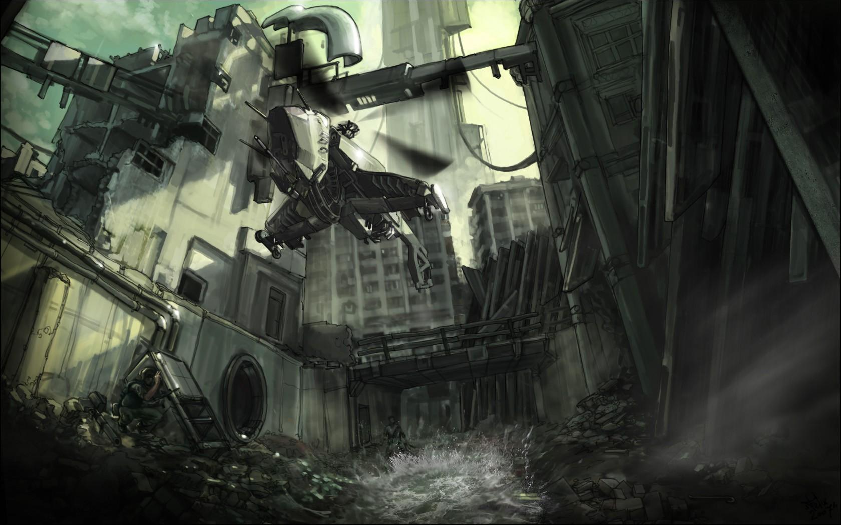 Wallpaper Half Life 2 Helicopter City 17 Citadel Rebels