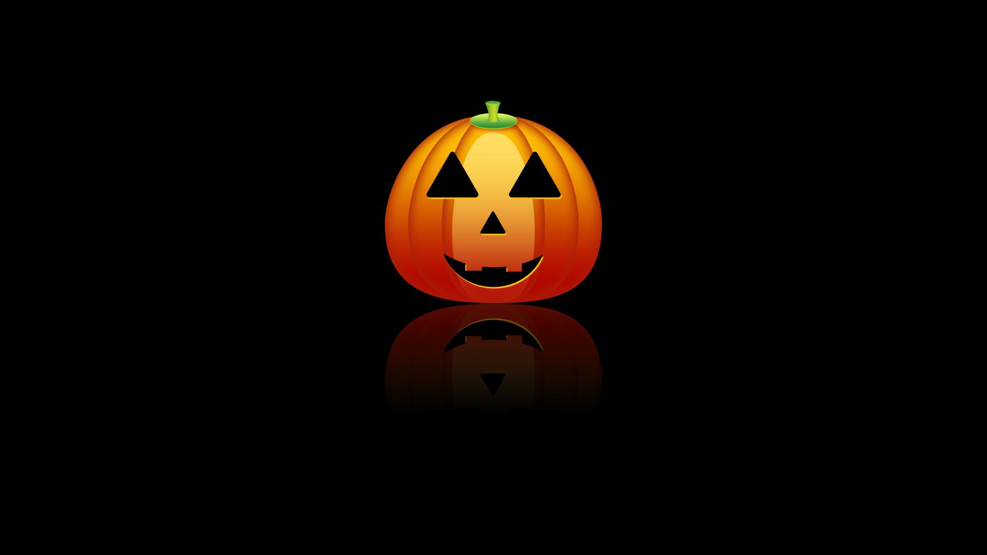 Wallpaper Halloween Minimalism Reflection Pumpkin